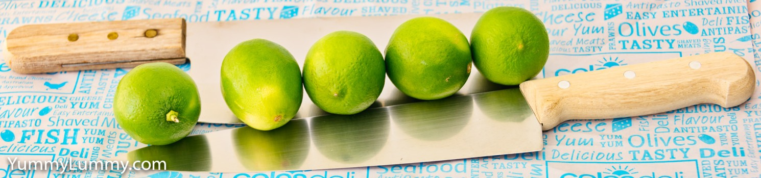 Photograph of limes and knives. Gary loves lime.