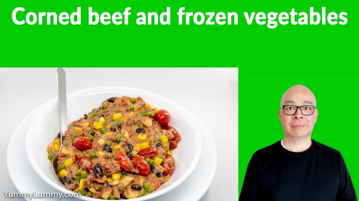 Thumbnail of YouTube video of corned beef and frozen vegetables