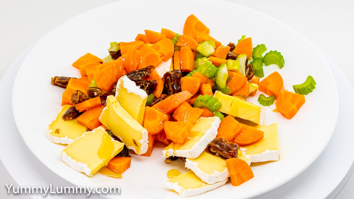 Brie, carrot, celery, dates, and honey