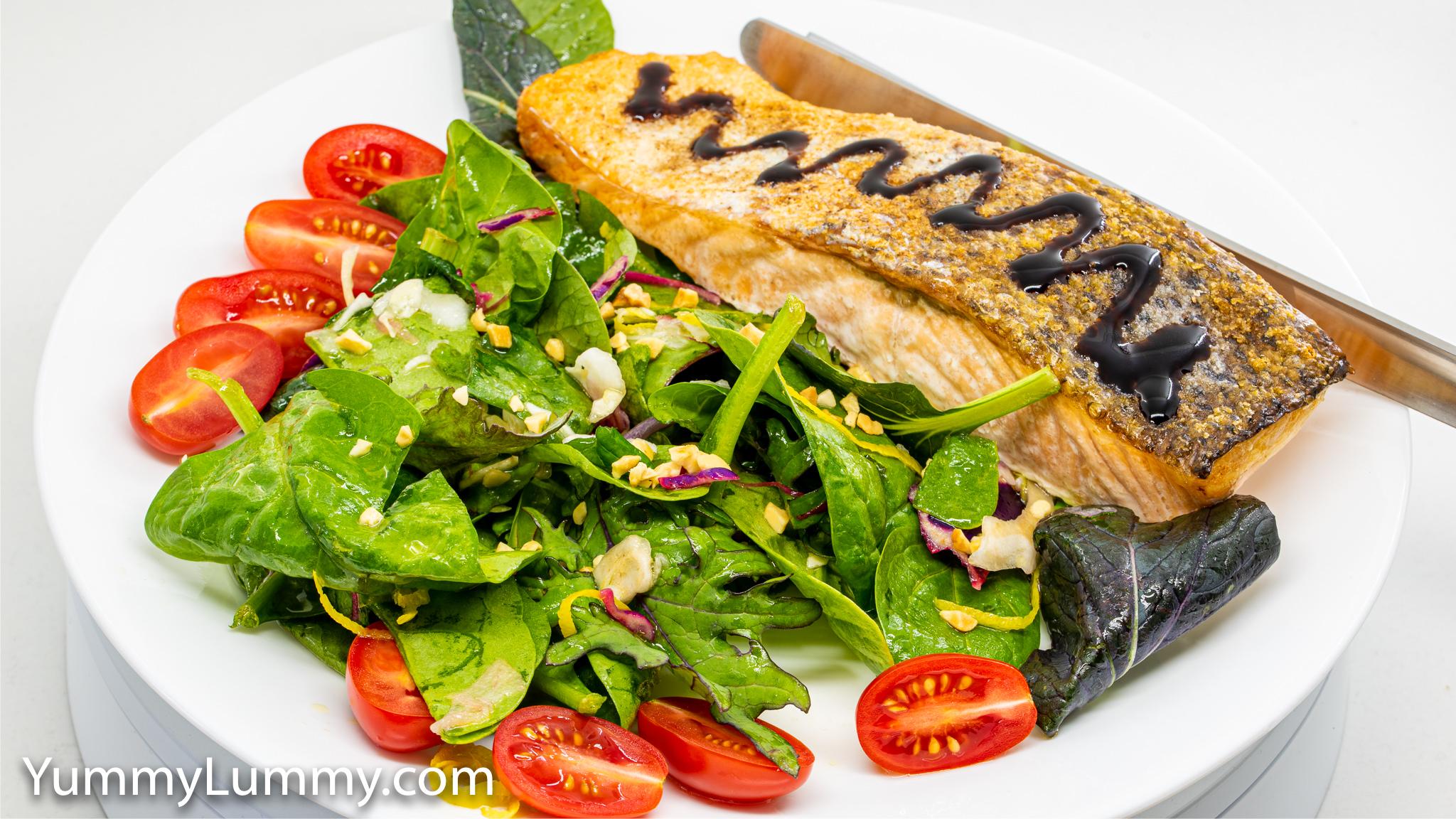 Photograph of Baked salmon and salad. Gary Lum.