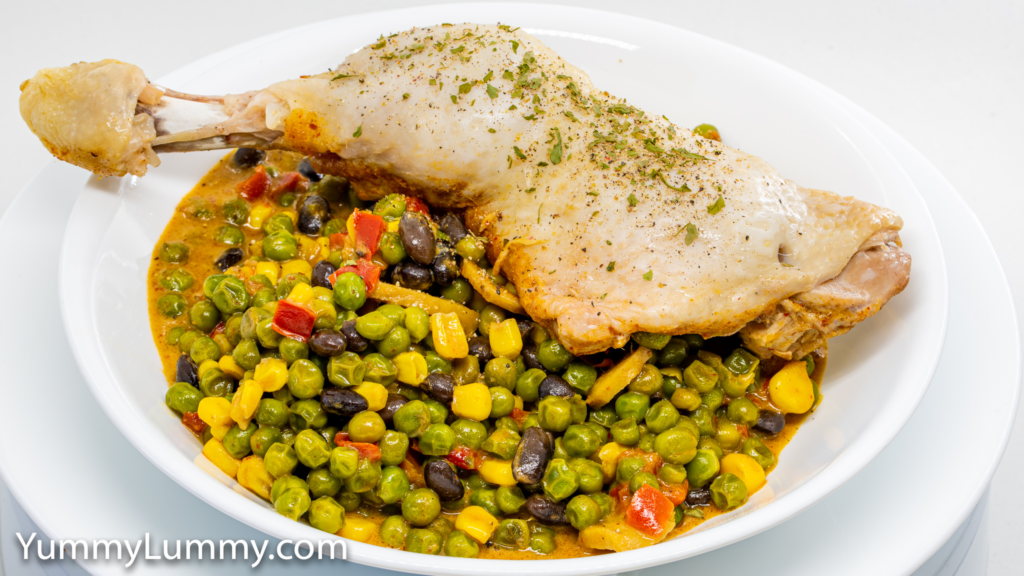 Photograph of Curry chicken and frozen vegetables. Gary Lum.