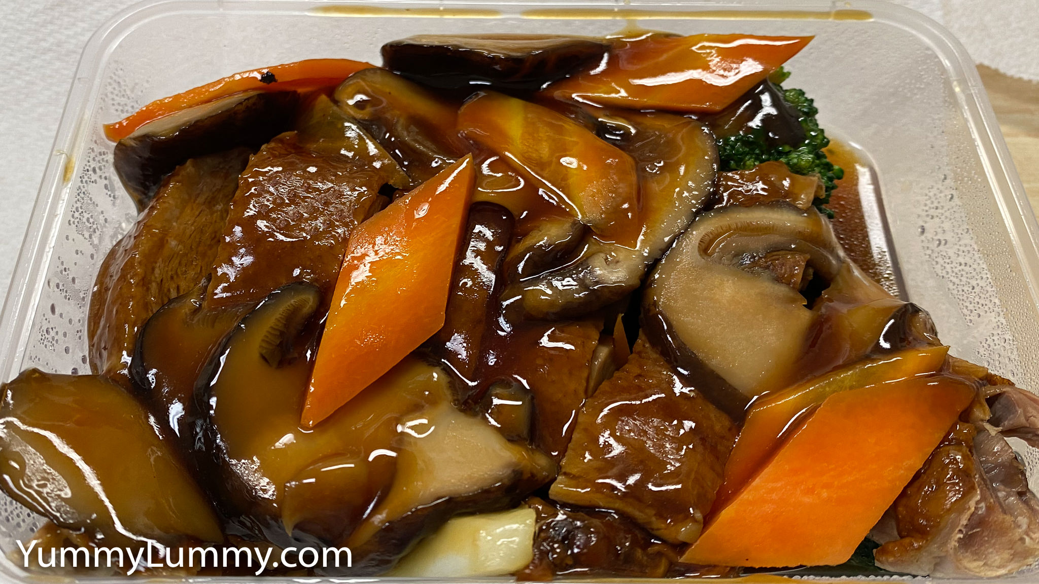 Photograph of Steamed duck and Chinese mushrooms from Garran Kitchen. Gary Lum.