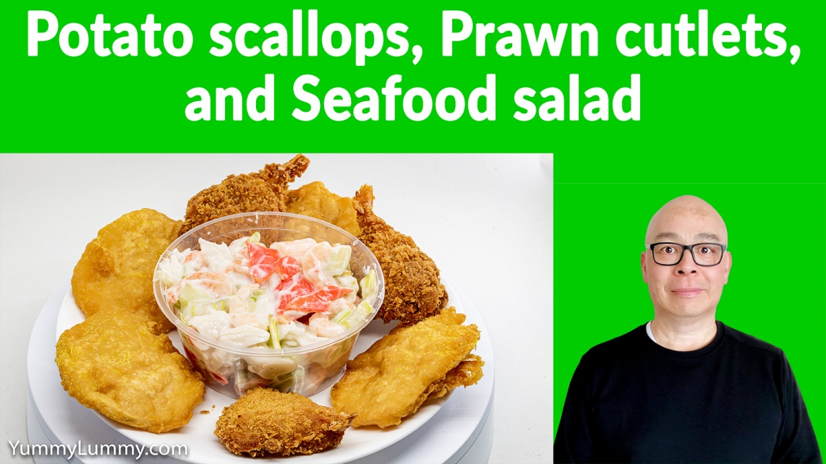 Potato scallops Prawn cutlets Seafood salad