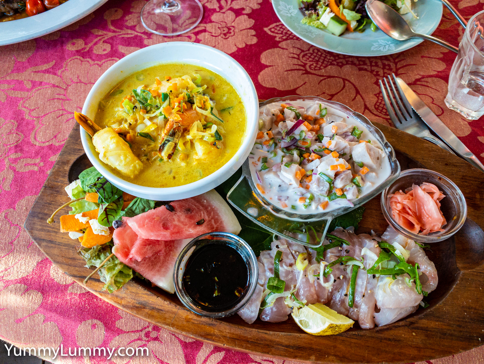 Photograph of my favourite meal on Norfolk Island. Dino's Seafood platter King prawns Kingfish Sashimi Kingfish salad. Gary Lum.