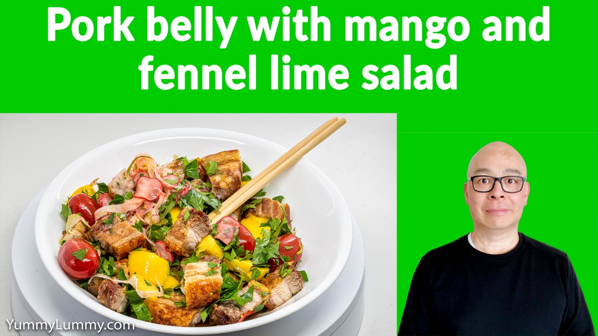 Pork belly with mango and fennel lime salad