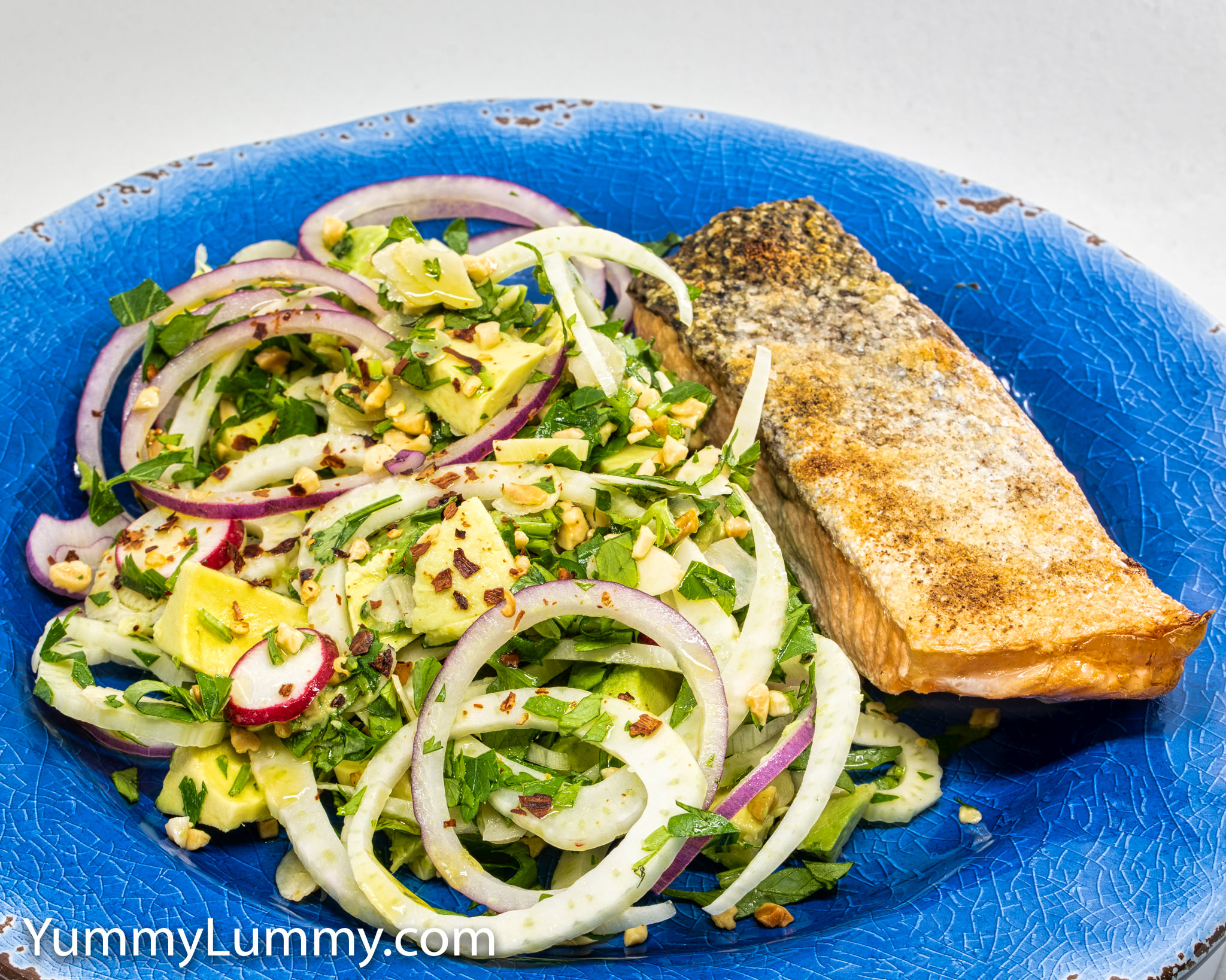 Photograph of baked salmon with avocado fennel salad. Gary Lum.