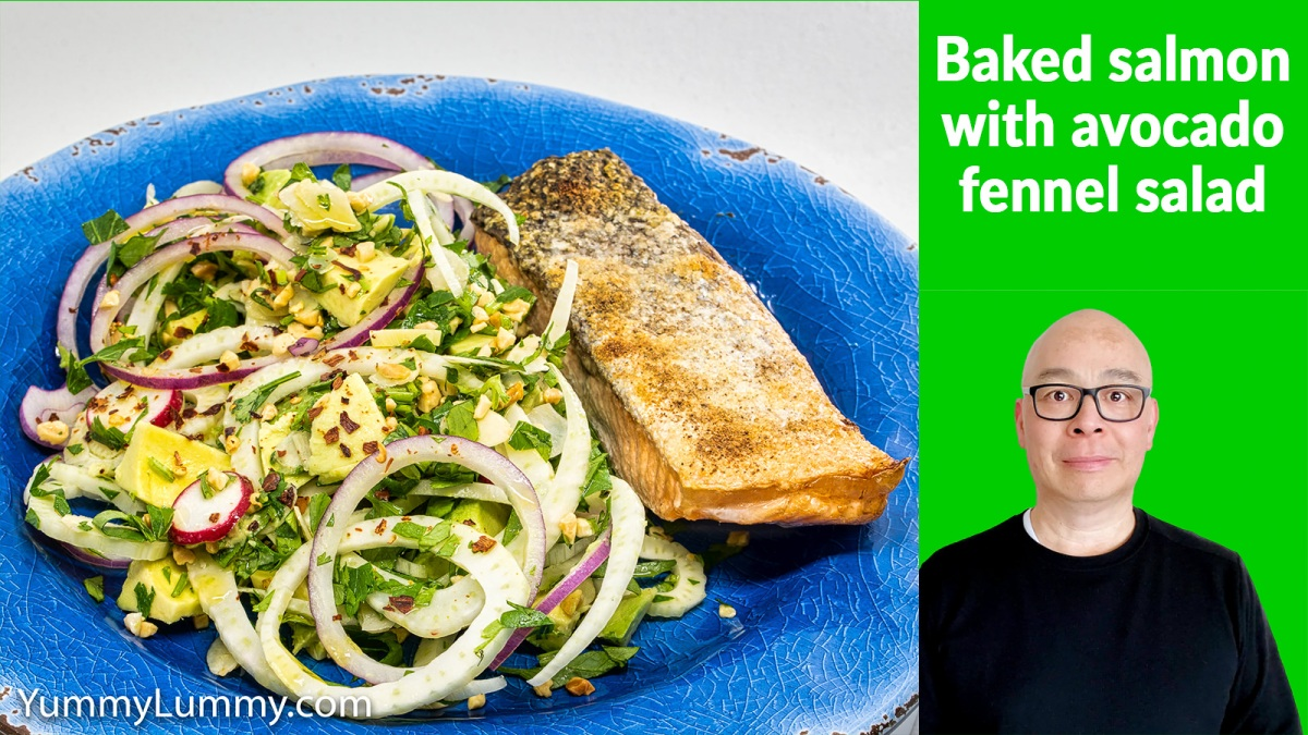 Baked salmon and fennel salad