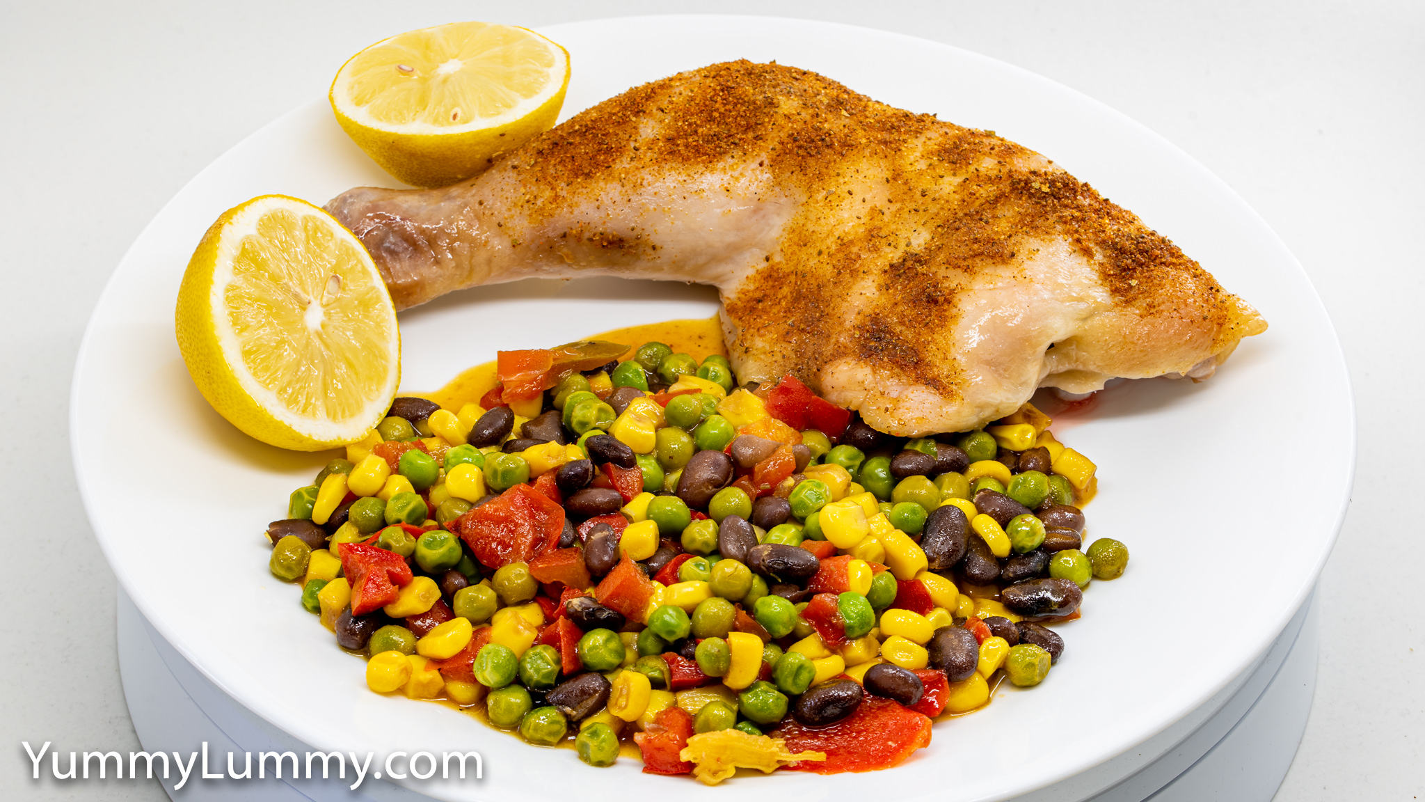 Roasted chicken thigh with frozen vegetables. Gary Lum.
