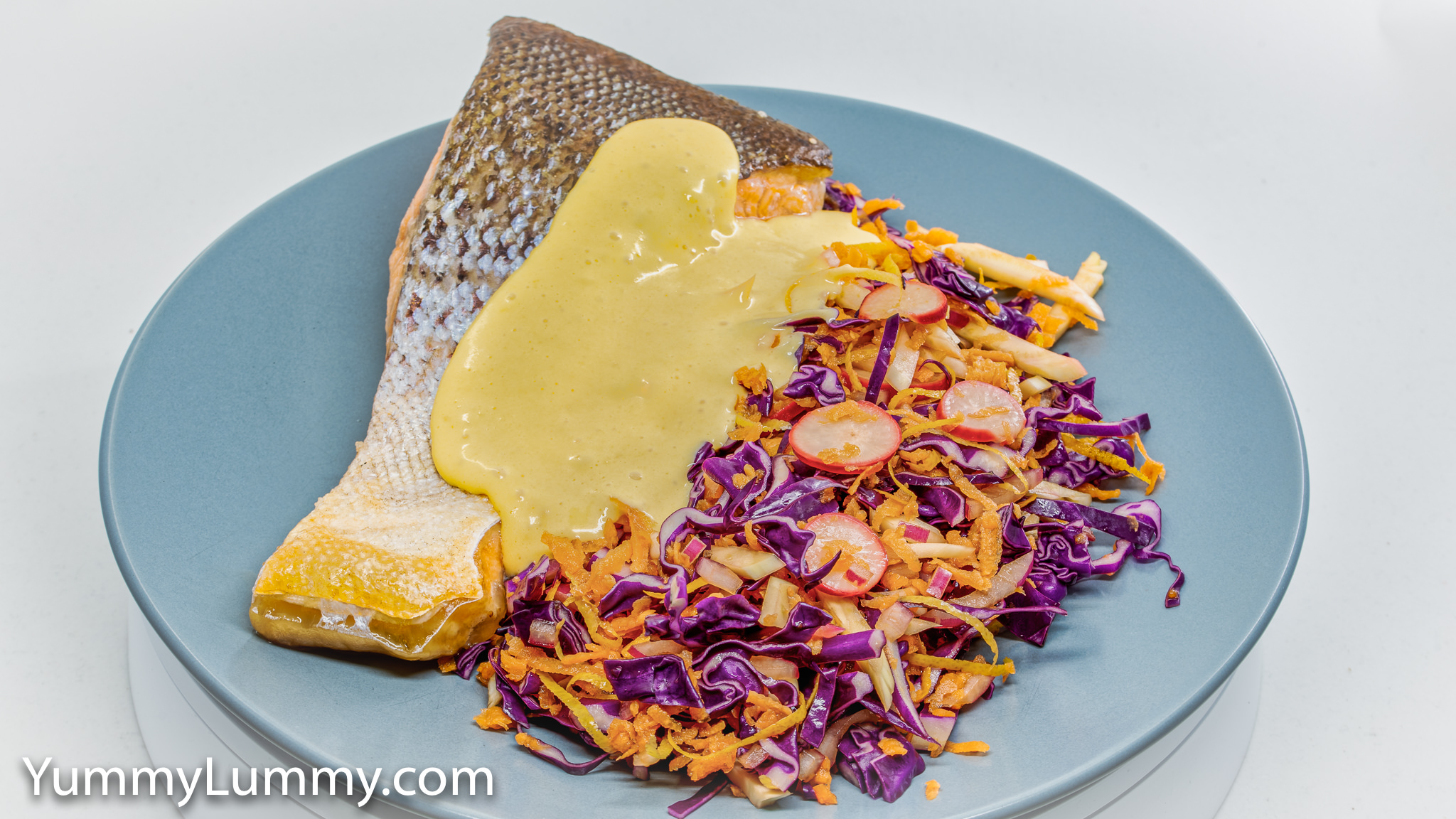 Baked salmon, red cabbage slaw with pickled fennel, radish, and red onion, and Hollandaise sauce. Gary Lum.