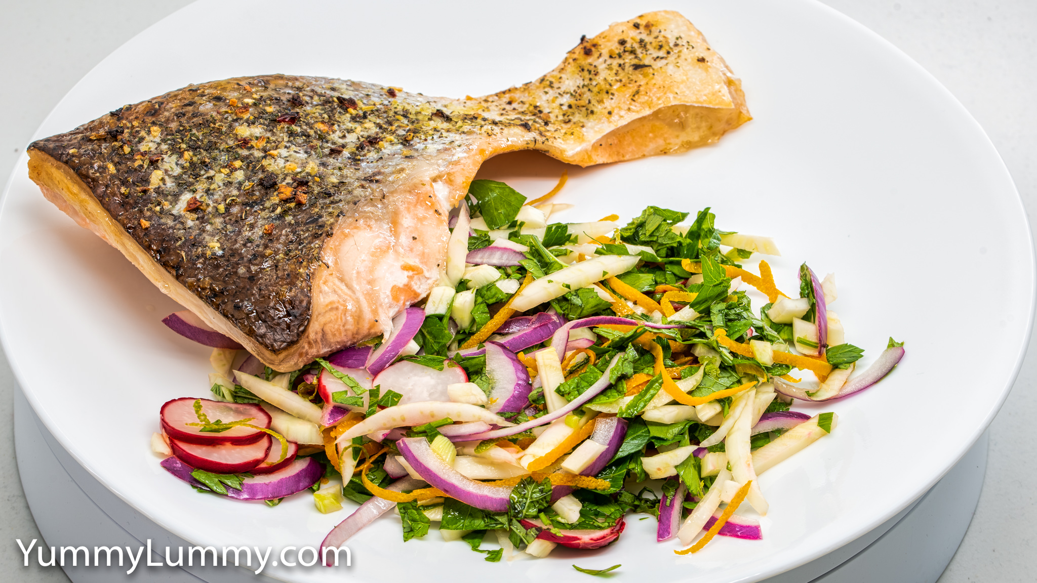 Baked salmon and pickled radish, fennel, and red onion. Gary Lum.