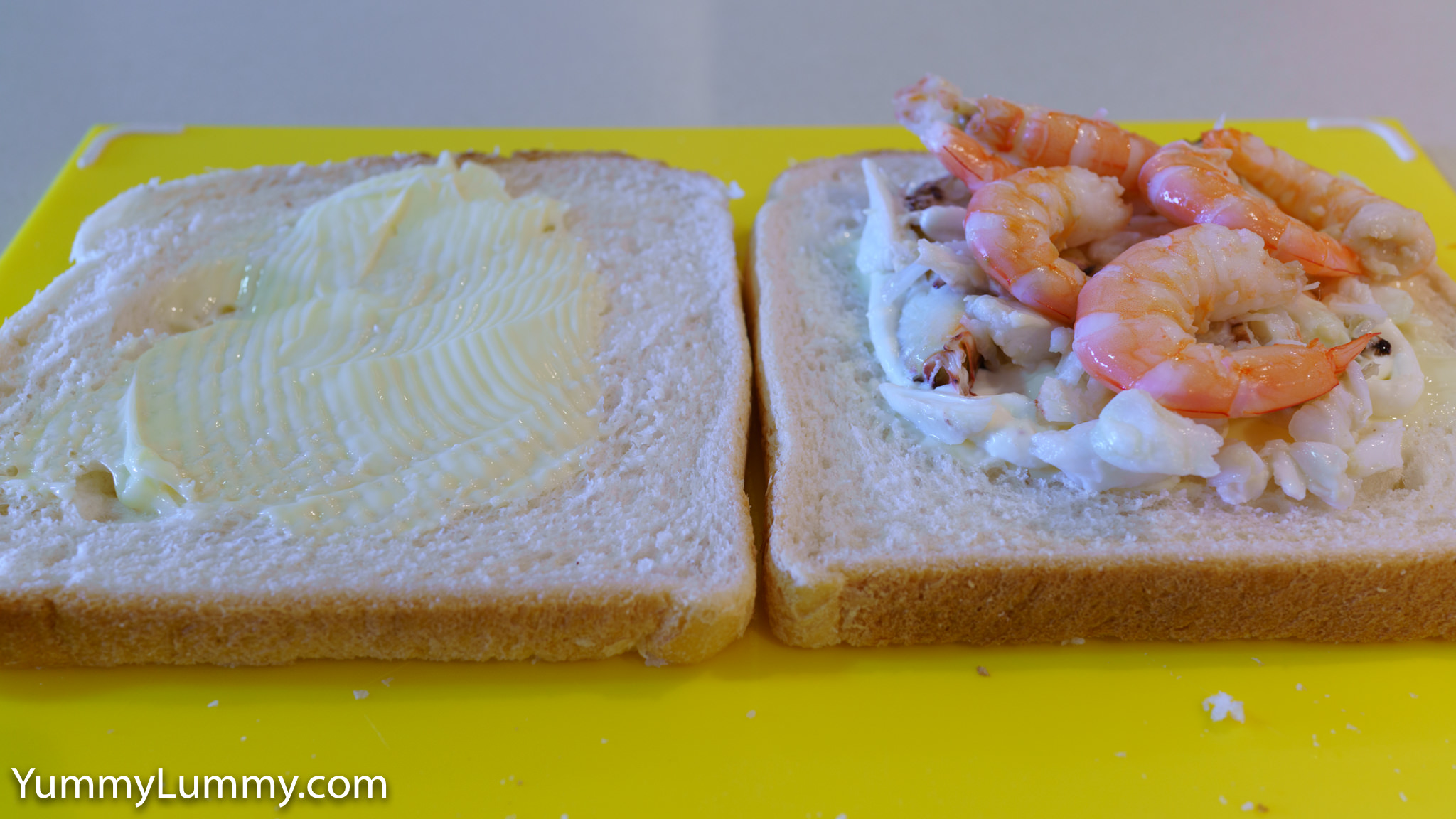 Buttered Tip Top™ White sandwich bread with aioli, crab meat, and prawns. Gary Lum.