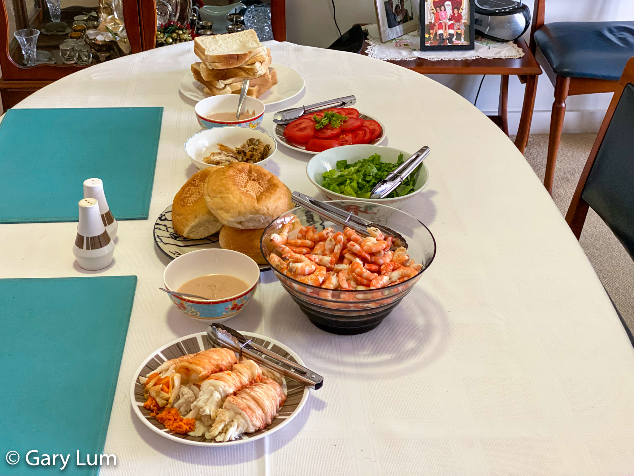 New Year's Day 2020 lunch. Moreton Bay Bugs and Endeavour prawns with fresh white bread. Gary Lum.