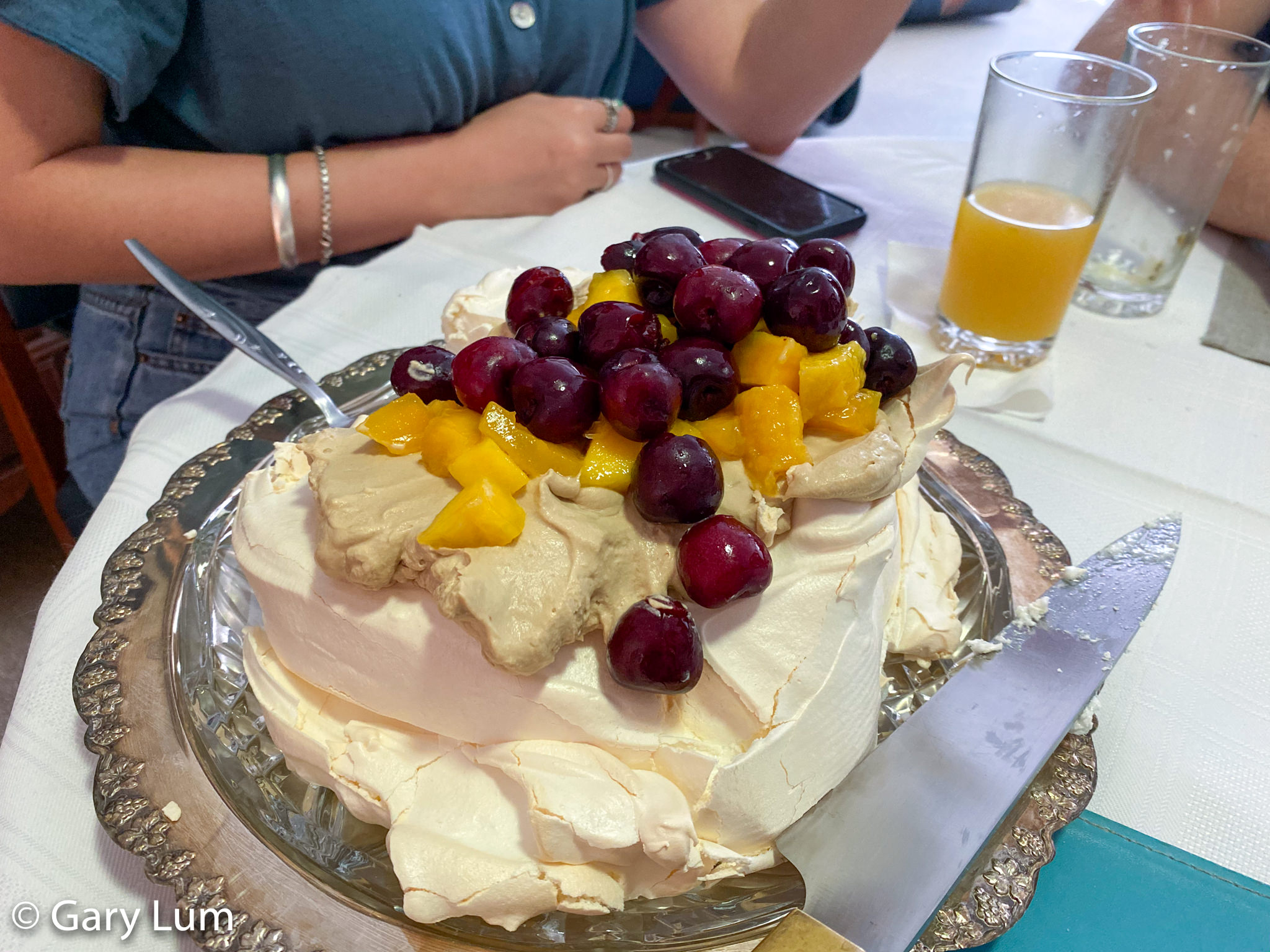 New Year's Day 2020 pavlova with cherries and mango. Gary Lum.