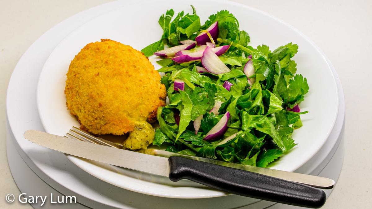 Chicken Kiev and salad. Gary Lum.