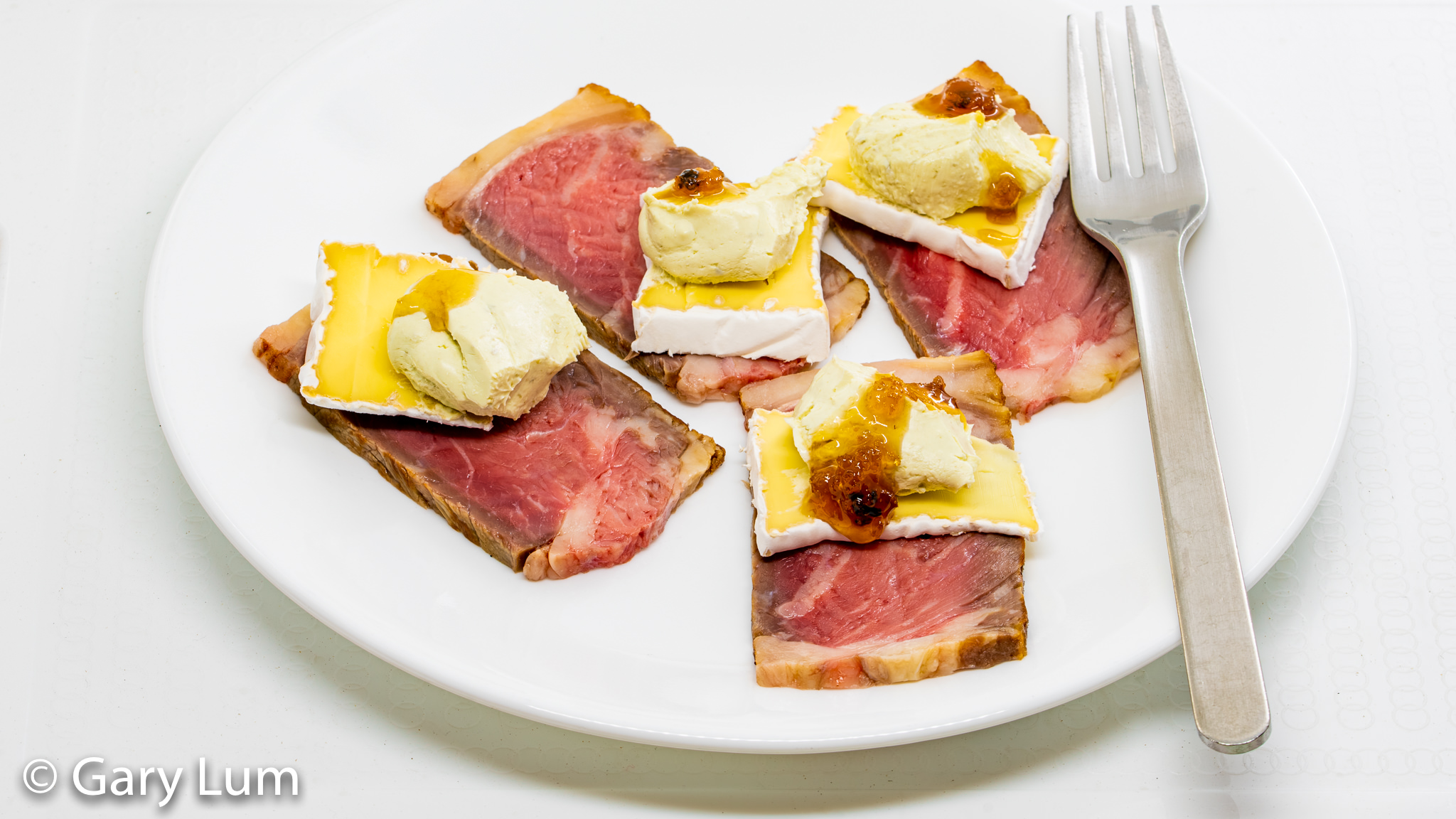 Leftover rib eye with Tasmanian Heritage triple cream brie, Philadelphia cream cheese, and truffle honey. Gary Lum.