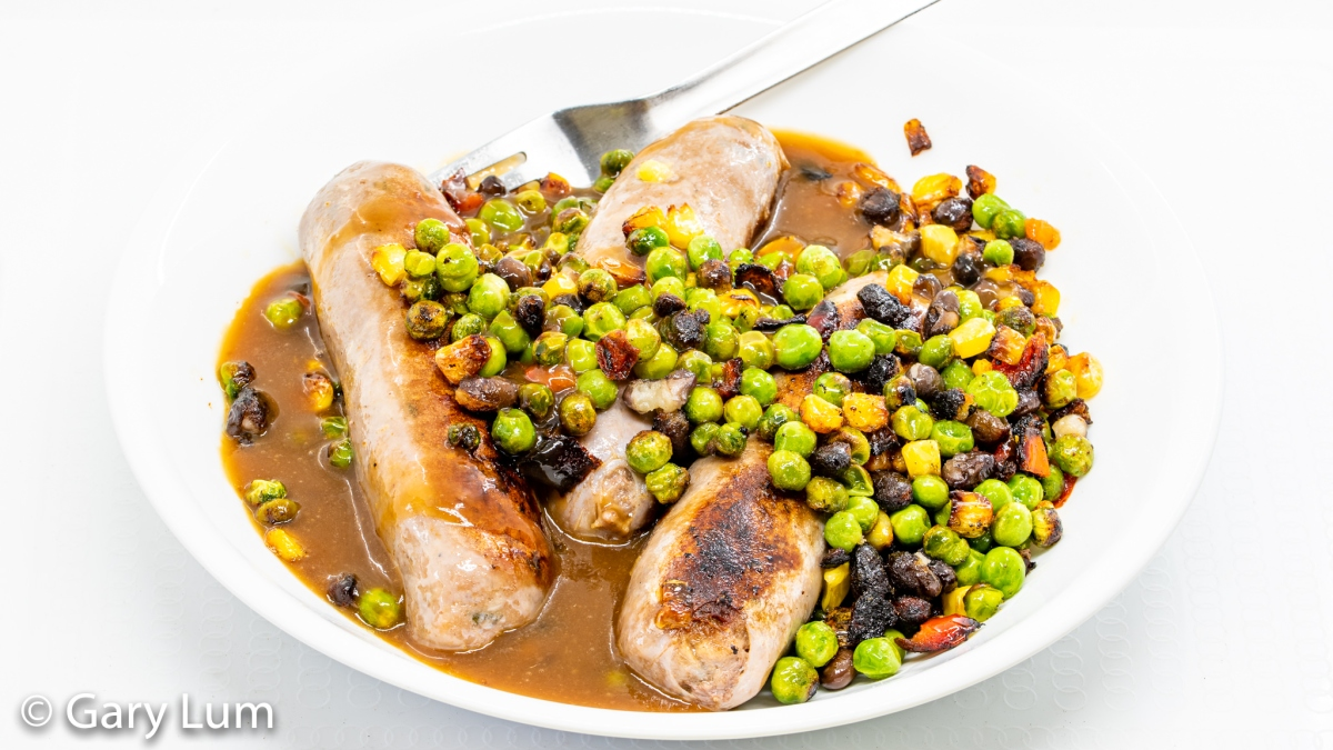 Beef sausages with frozen vegetables and Gravox™ gravy. Gary Lum.