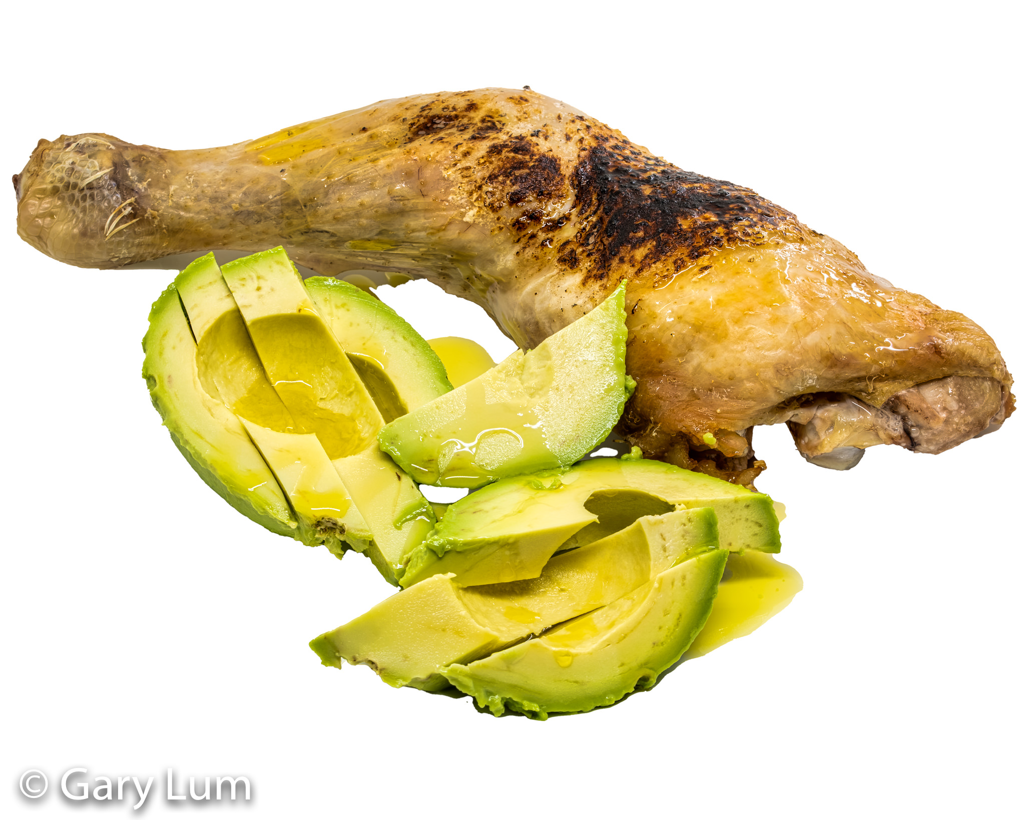 Roast chicken and avocado. MEATER™ wireless meat thermometer enabled. Gary Lum.