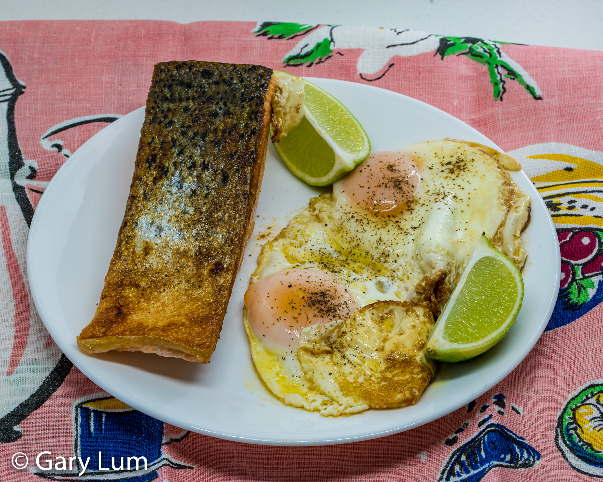 Pan-fried salmon with fried eggs. Gary Lum.