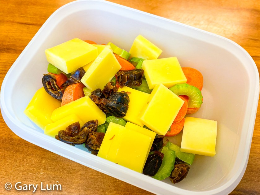 Coon™ cheese with carrot, celery, and dates. Gary Lum.