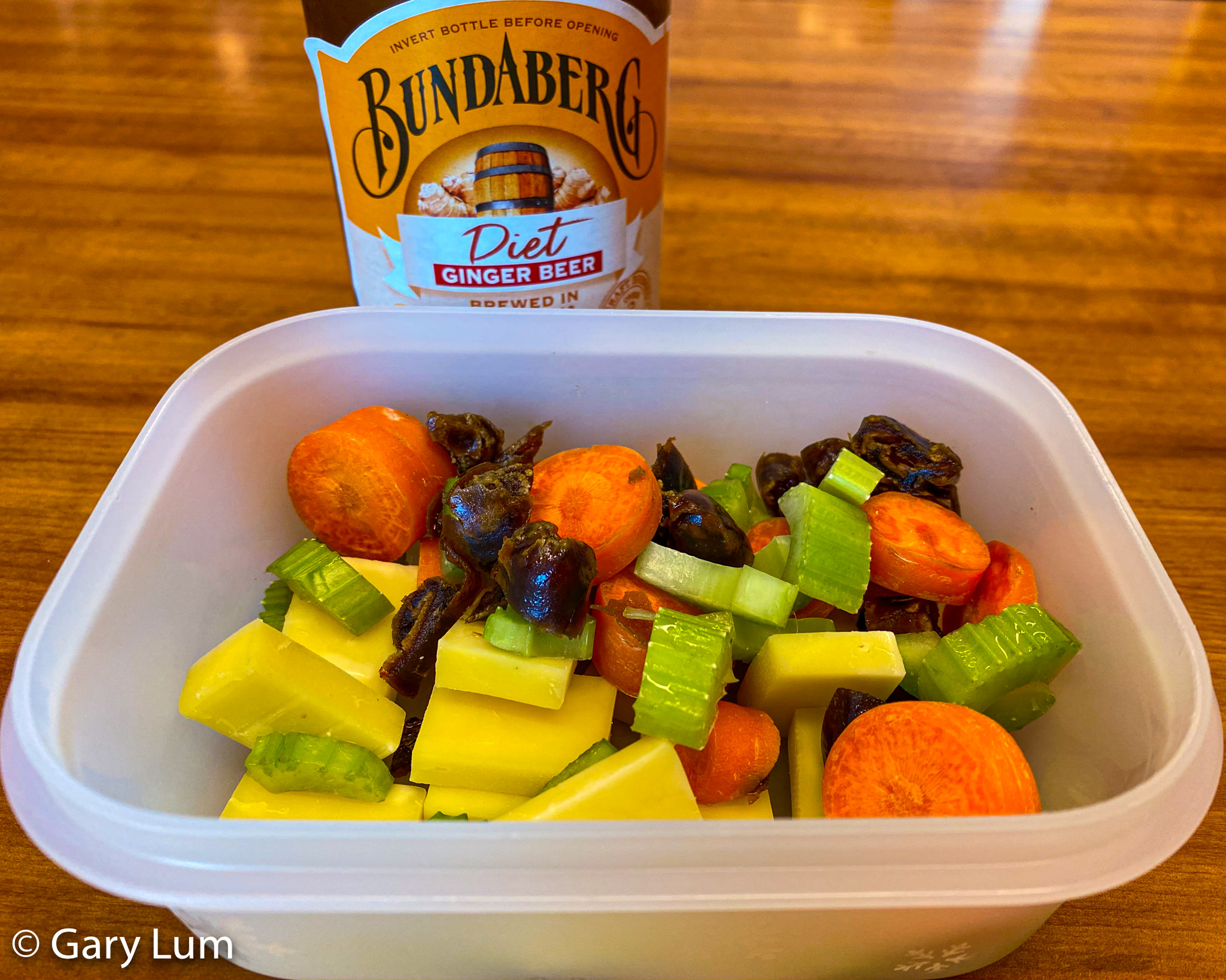Sliced carrot, celery, cheese, and dates with Bundaberg Diet Ginger beer. Gary Lum.