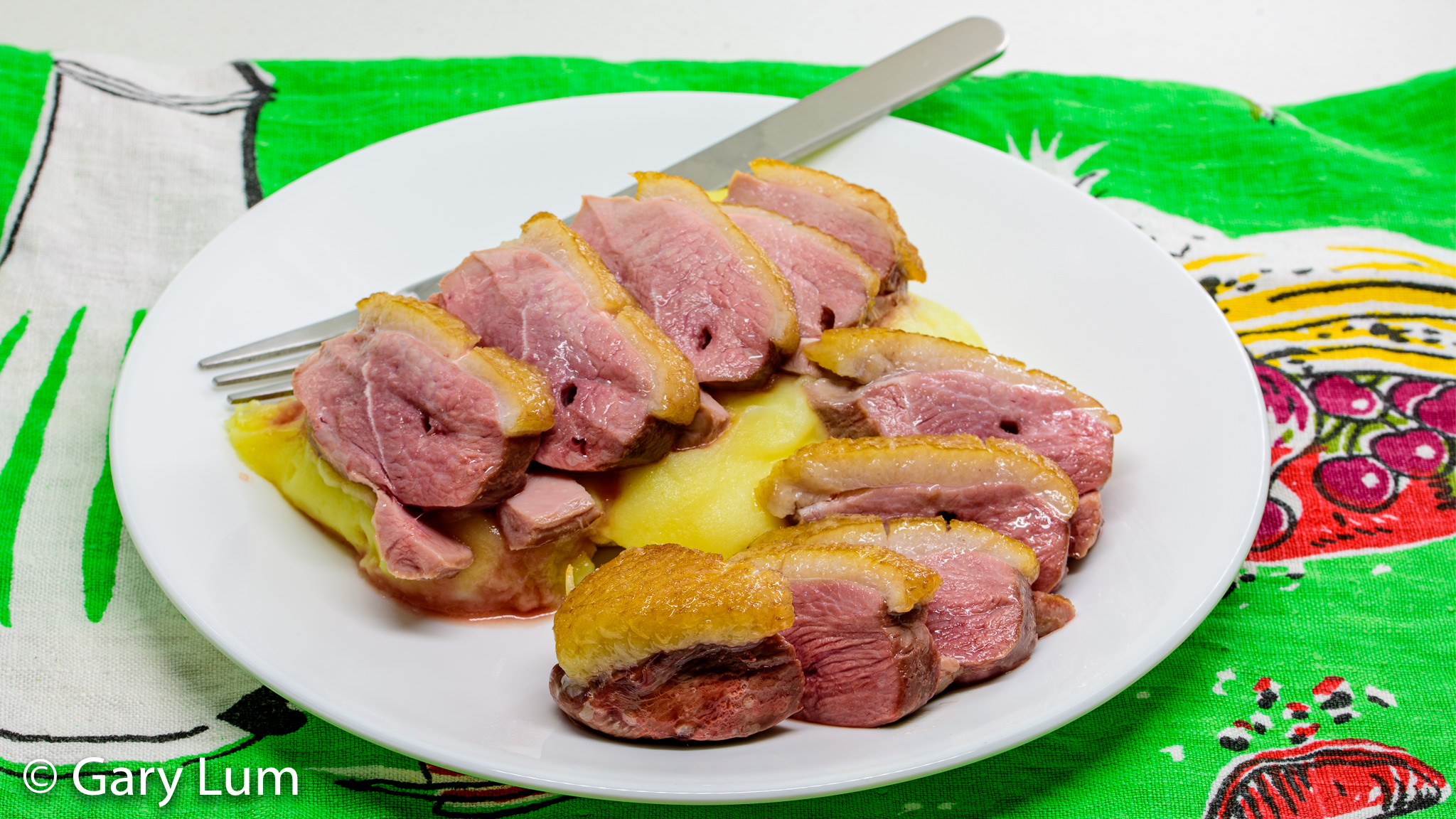 Roast duck breast and microwave radiation potato mash. Gary Lum.