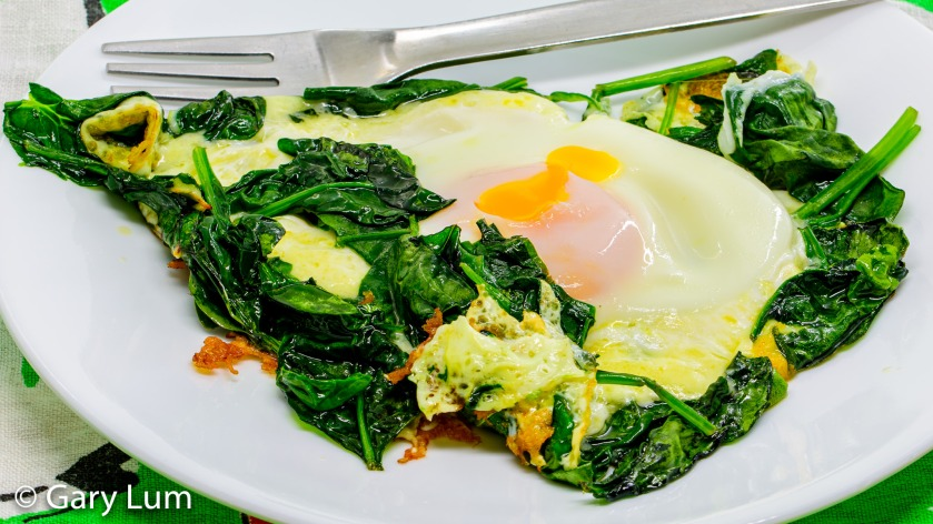 Steamed egg with melted cheese and wilted spinach. Gary Lum.