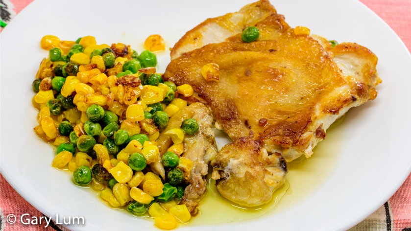 Deboned chicken thigh with frozen peas and corn. Gary Lum.