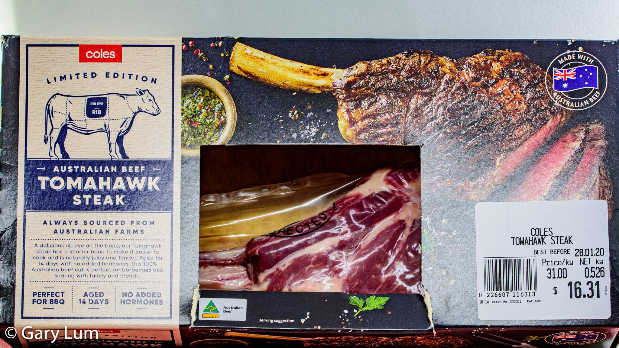 Coles Tomahawk Steak. Gary Lum.