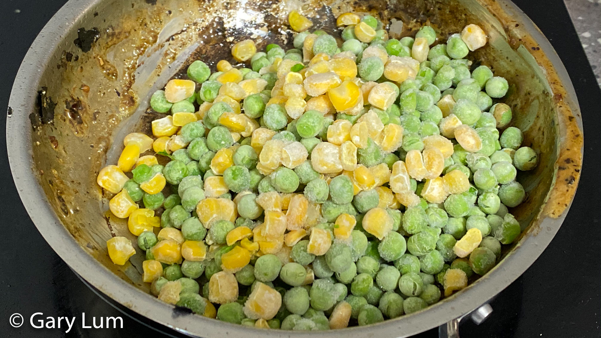 Frozen green and gold vegetables. Gary Lum.