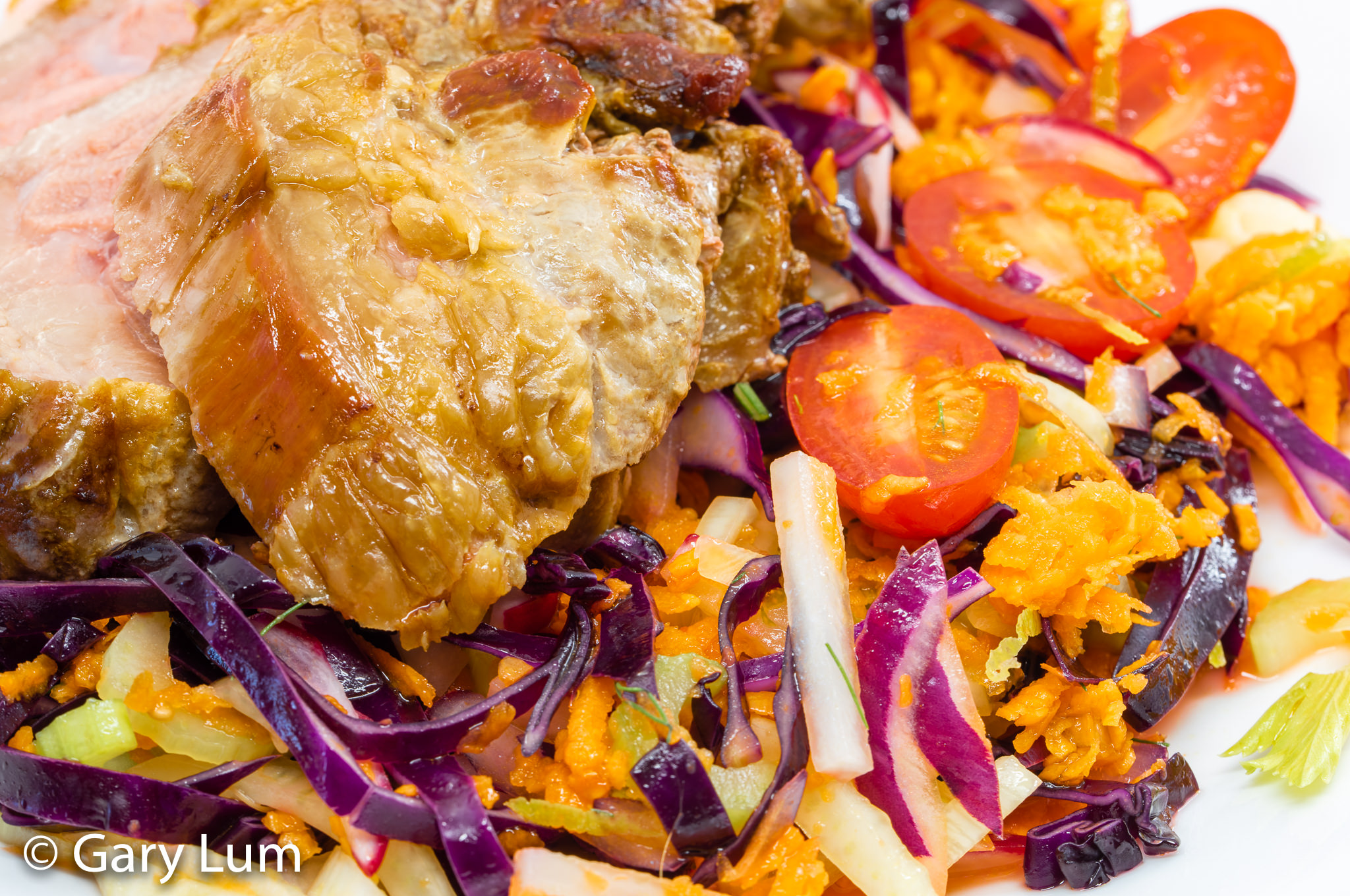 Australia Day 2020 Roast Lamb Shoulder with fresh slaw. Gary Lum.