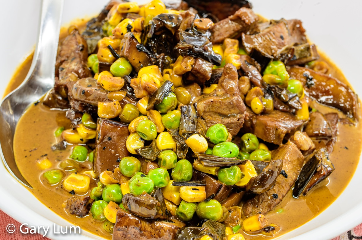 Leftover lamb with creamy mushrooms and peas and corn. Gary Lum.