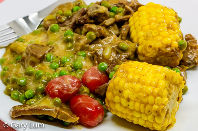 Leftover lamb with corn and peas in cheese gravy. Gary Lum.