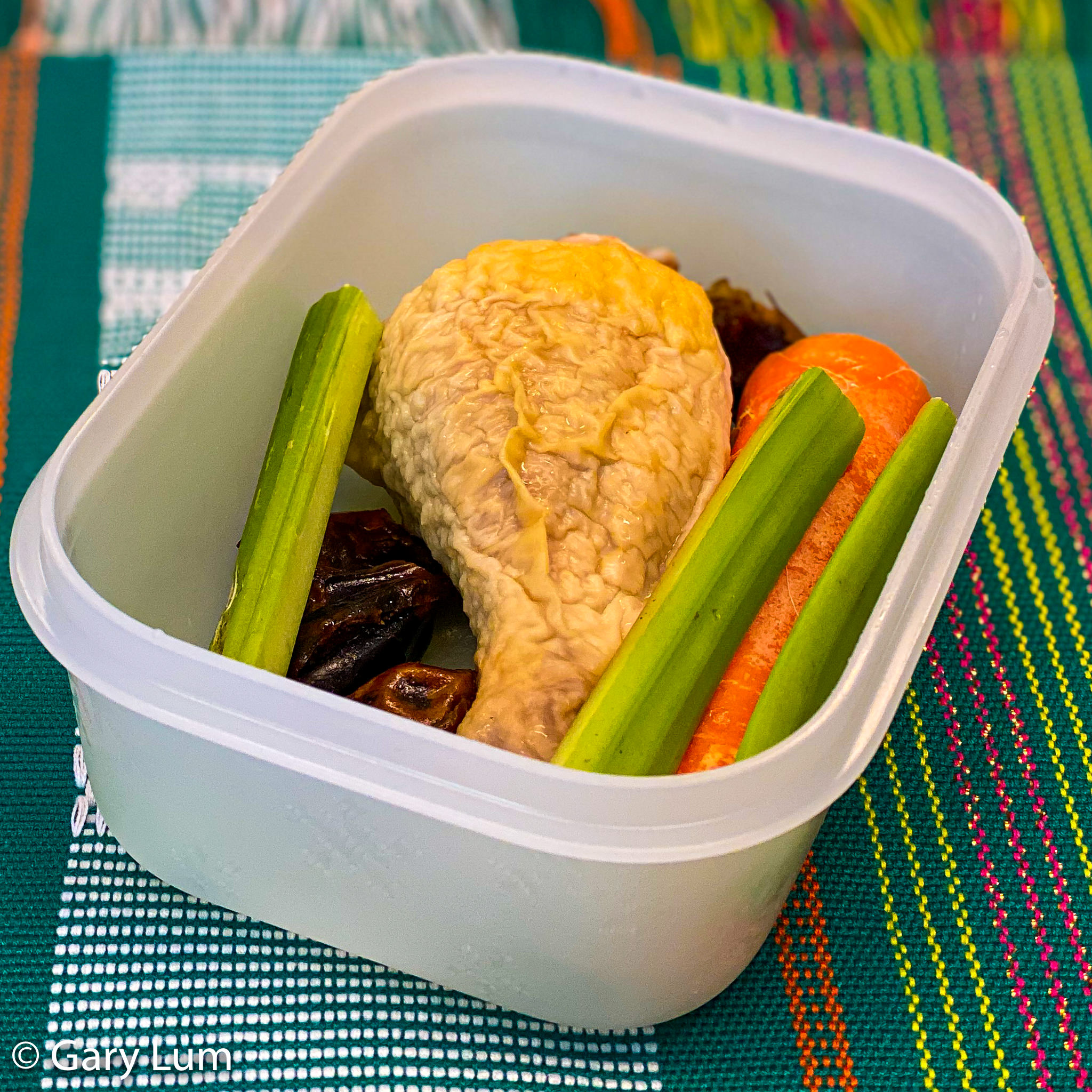 Chicken drumstick with carrot, celery, and dates. Gary Lum.