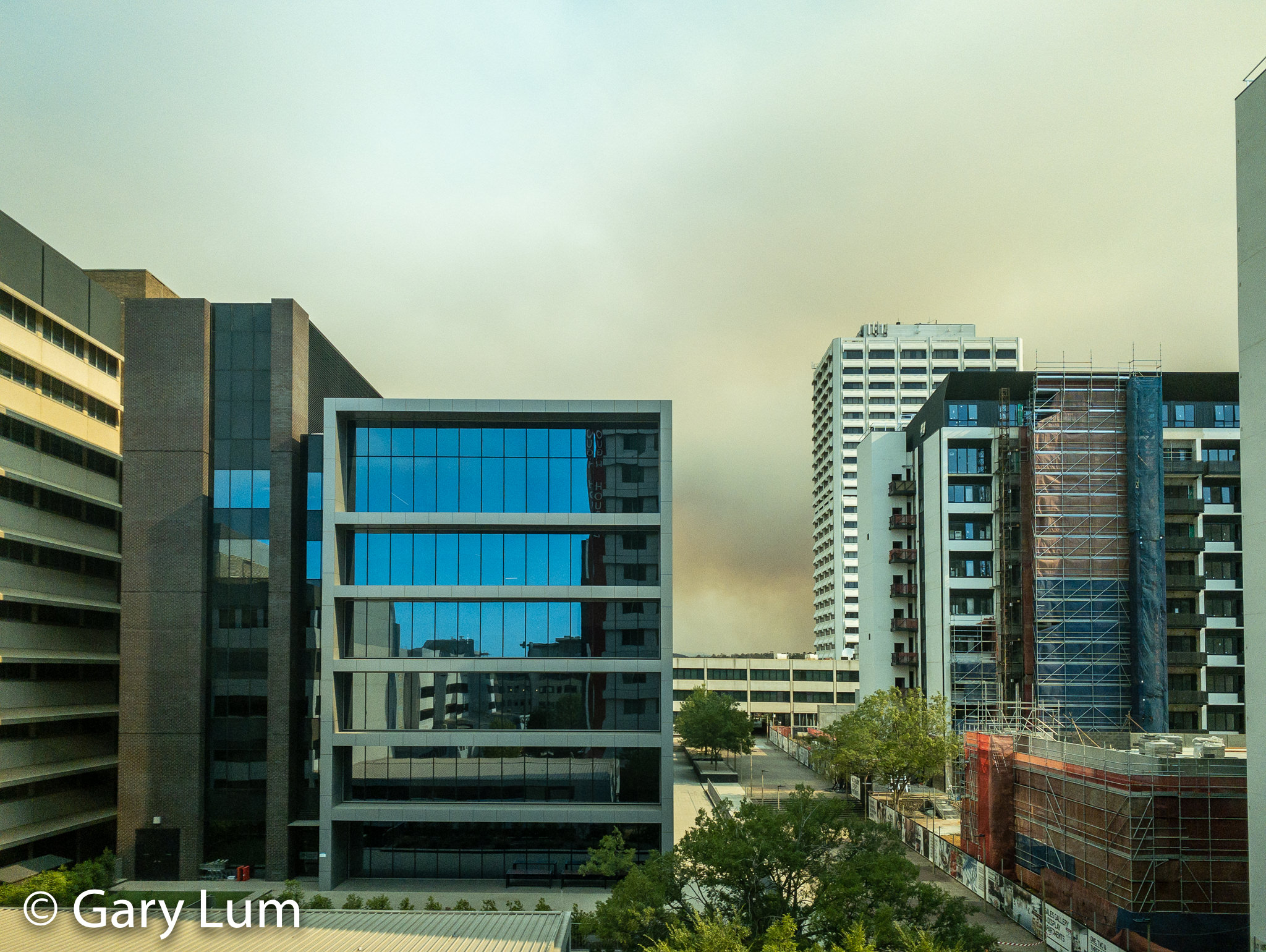 View from a window at work. Welcome to Canberra, the world's most liveable city. #bushfires #smokehaze