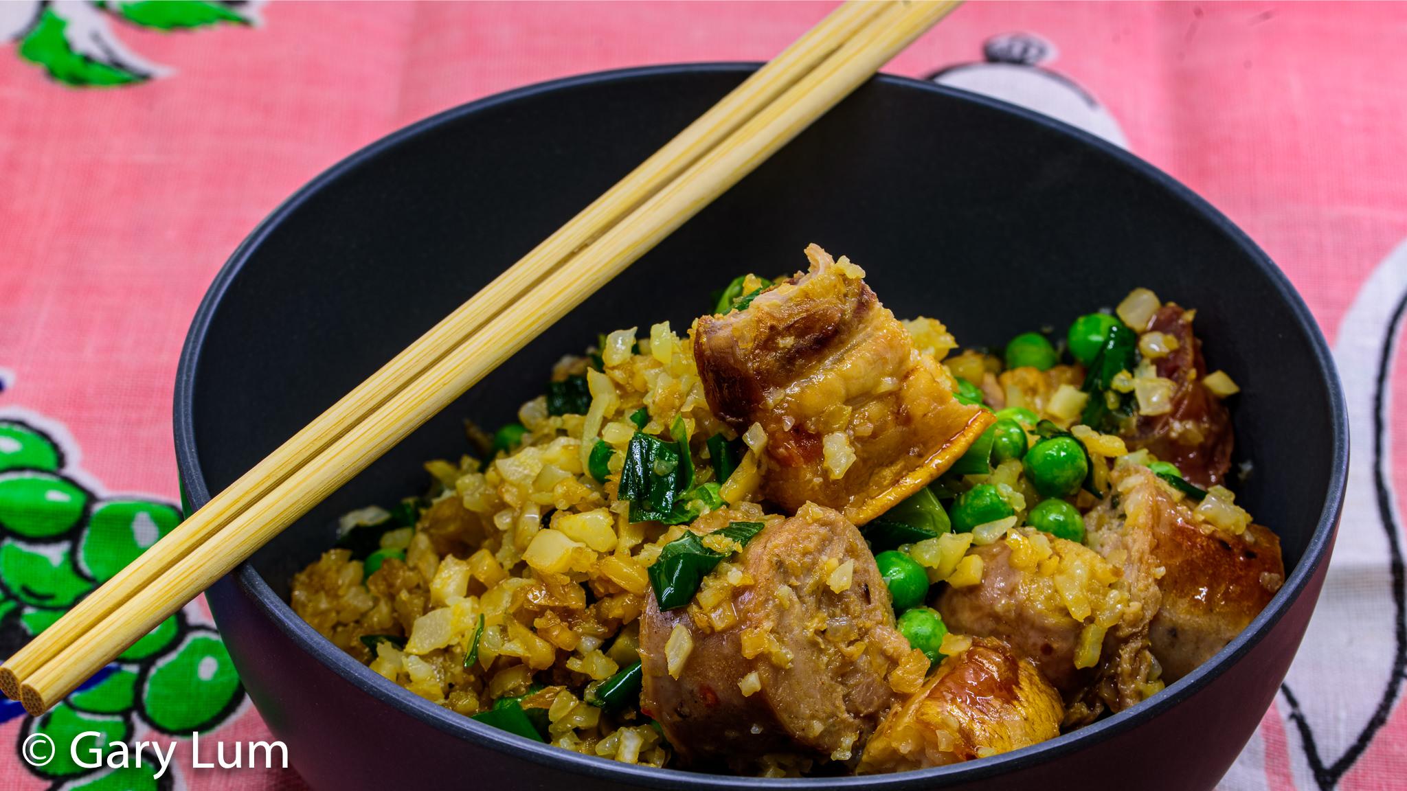 Triple pork fried cauliflower rice. Gary Lum.
