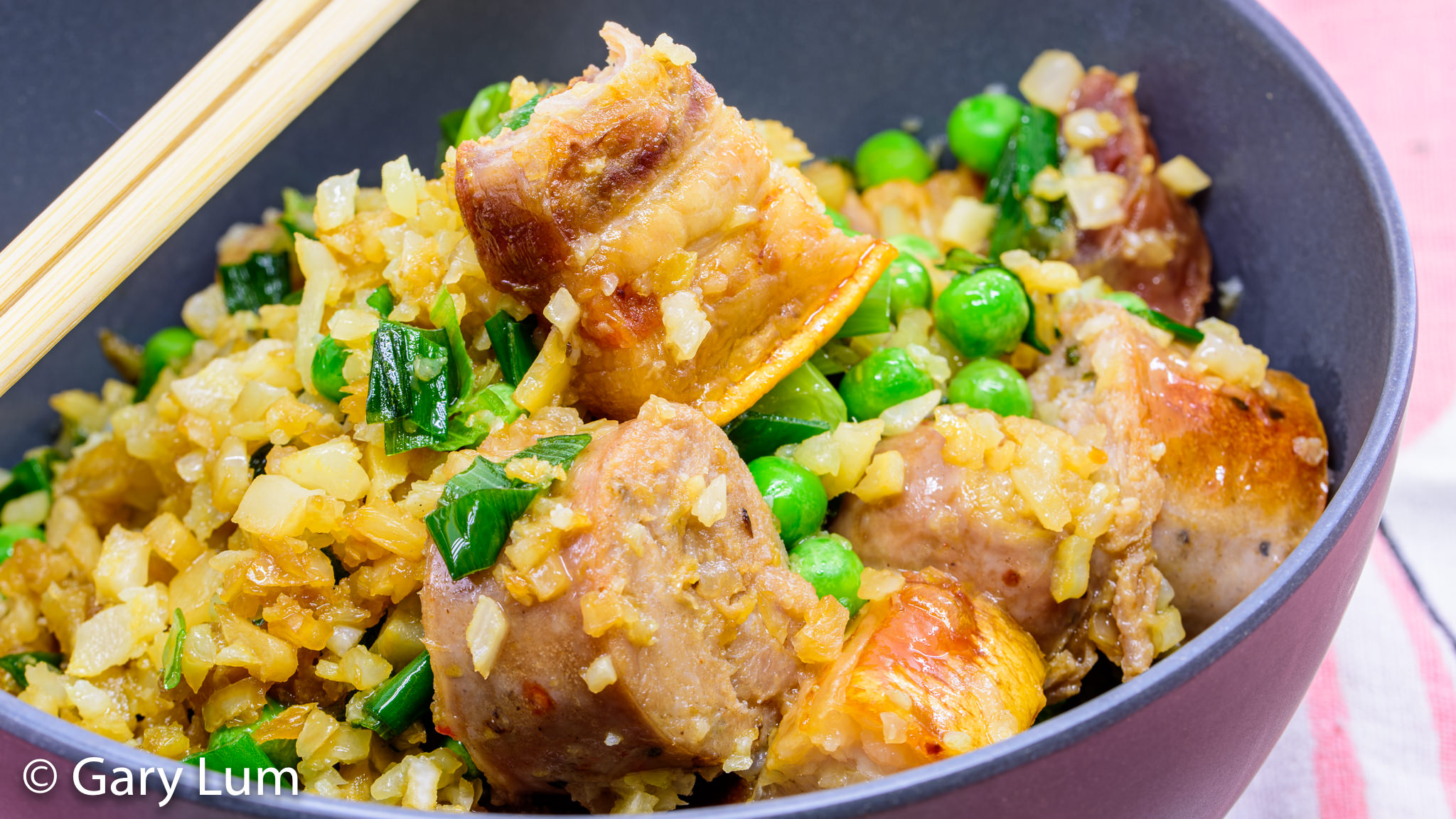 Close up. Triple pork fried cauliflower rice. Gary Lum.