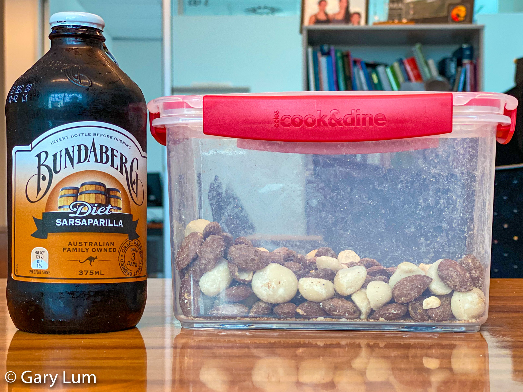 Sunday lunch at work. Bundaberg Sarsaparilla with Queensland nuts and Smokey almonds. Gary Lum.