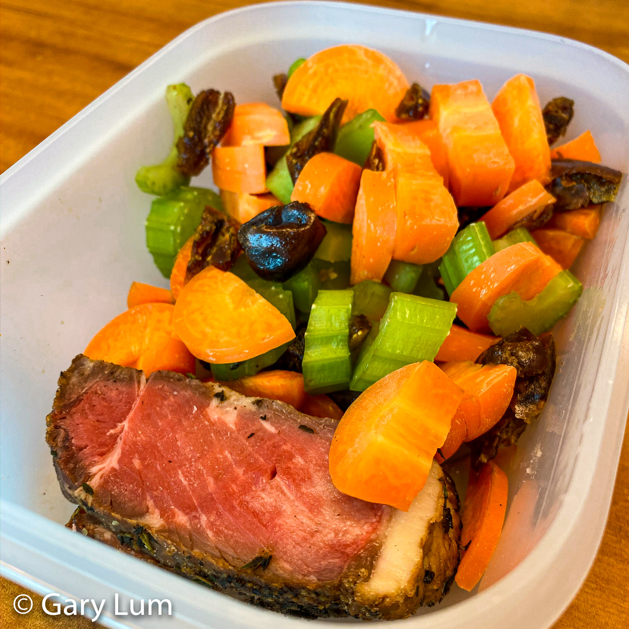 Sliced rare leftover beef, carrot, celery, and dates. Gary Lum.