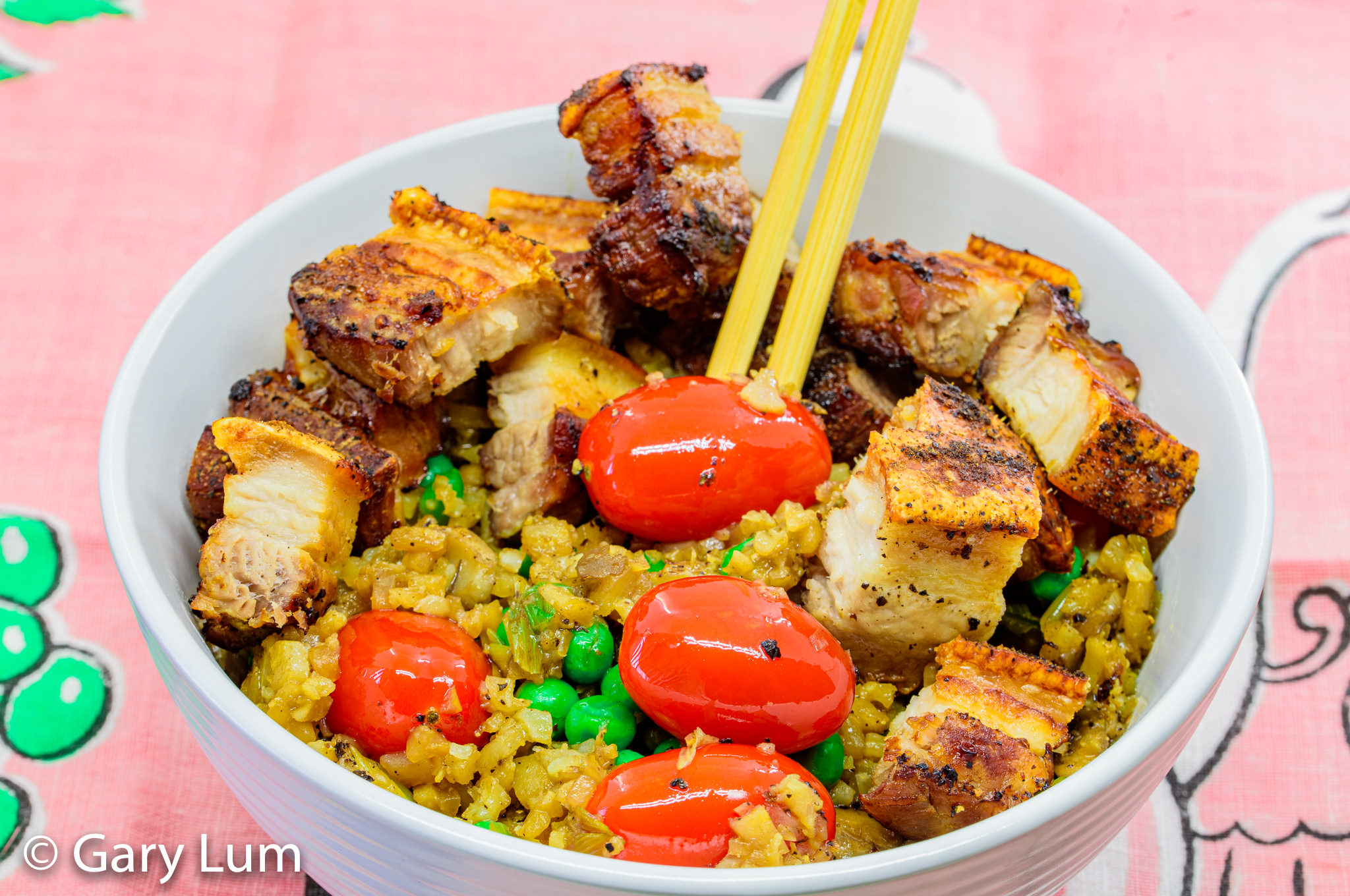 Close up. Leftover fried cauliflower rice with pork belly. Gary Lum.