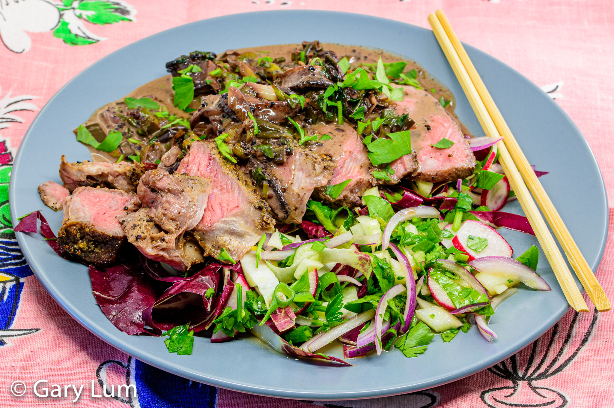 Porterhouse steak and radicchio salad. Gary Lum.