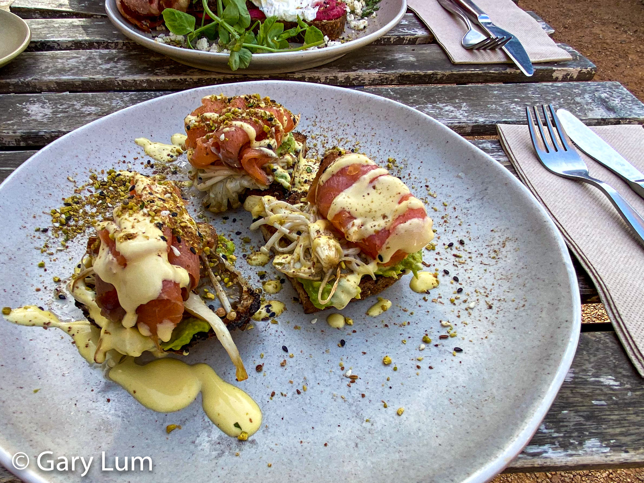 Smoked salmon, smashed avocado with Hollandaise sauce at Two Before Ten, Aranda. Gary Lum.