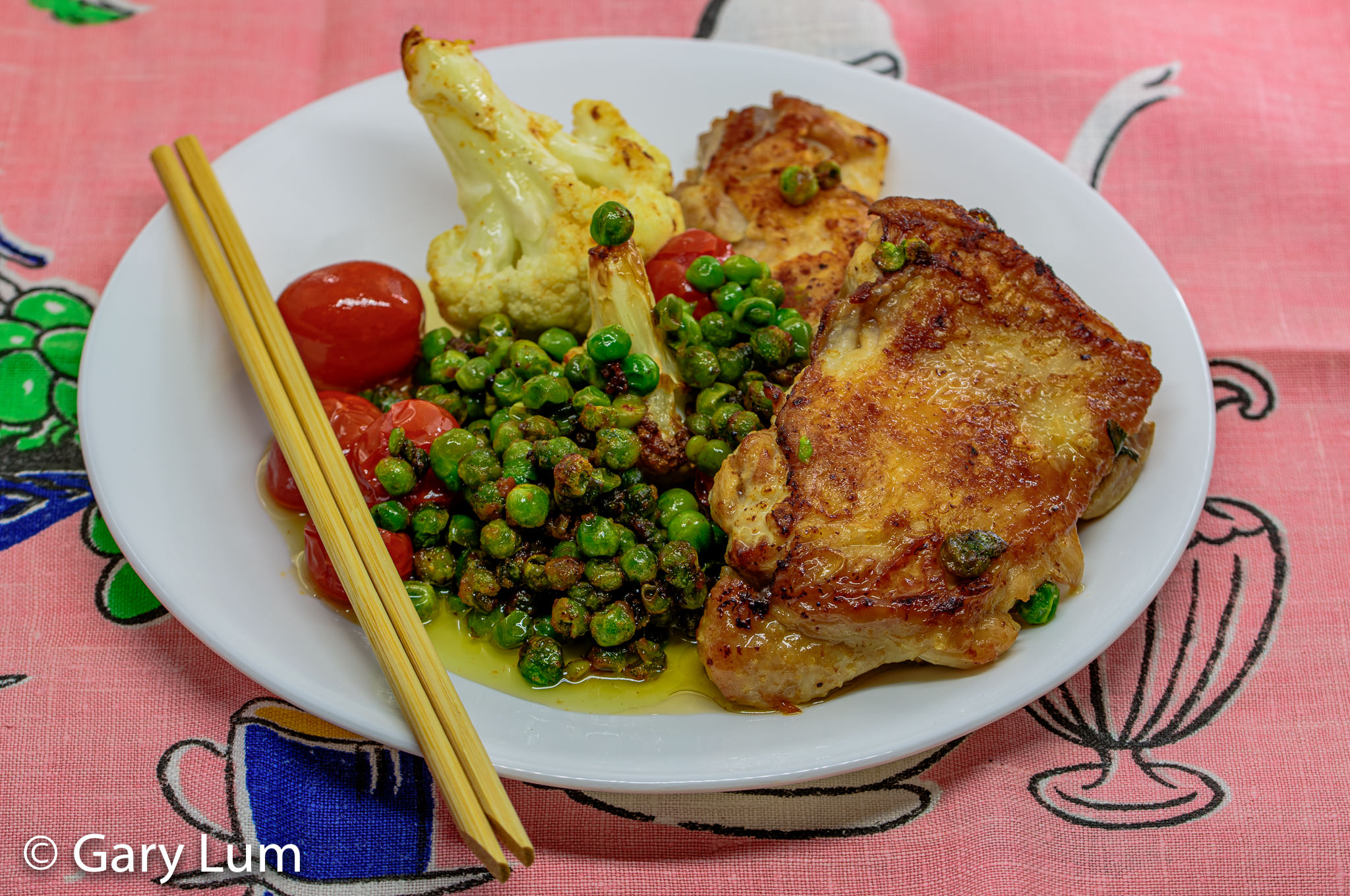 Pan-fried boneless chicken and vegetables. Gary Lum.