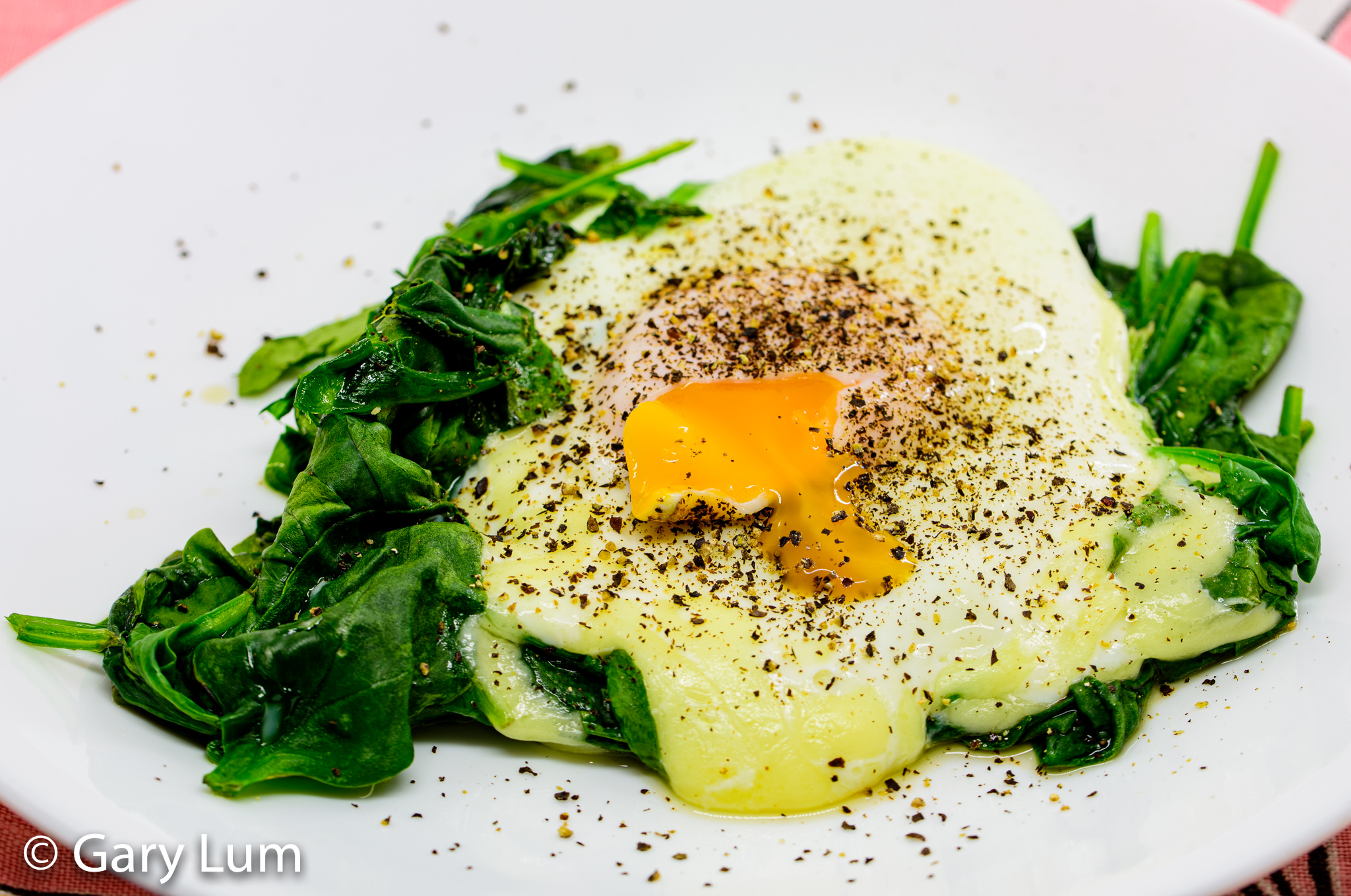 Steamed egg with mozzarella and wilted spinach. Gary Lum.