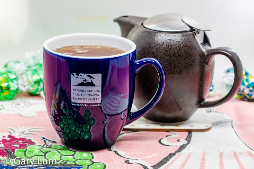 Earl Grey Tea and Zero teapot. National Critical Care and Trauma Response Centre teacup.