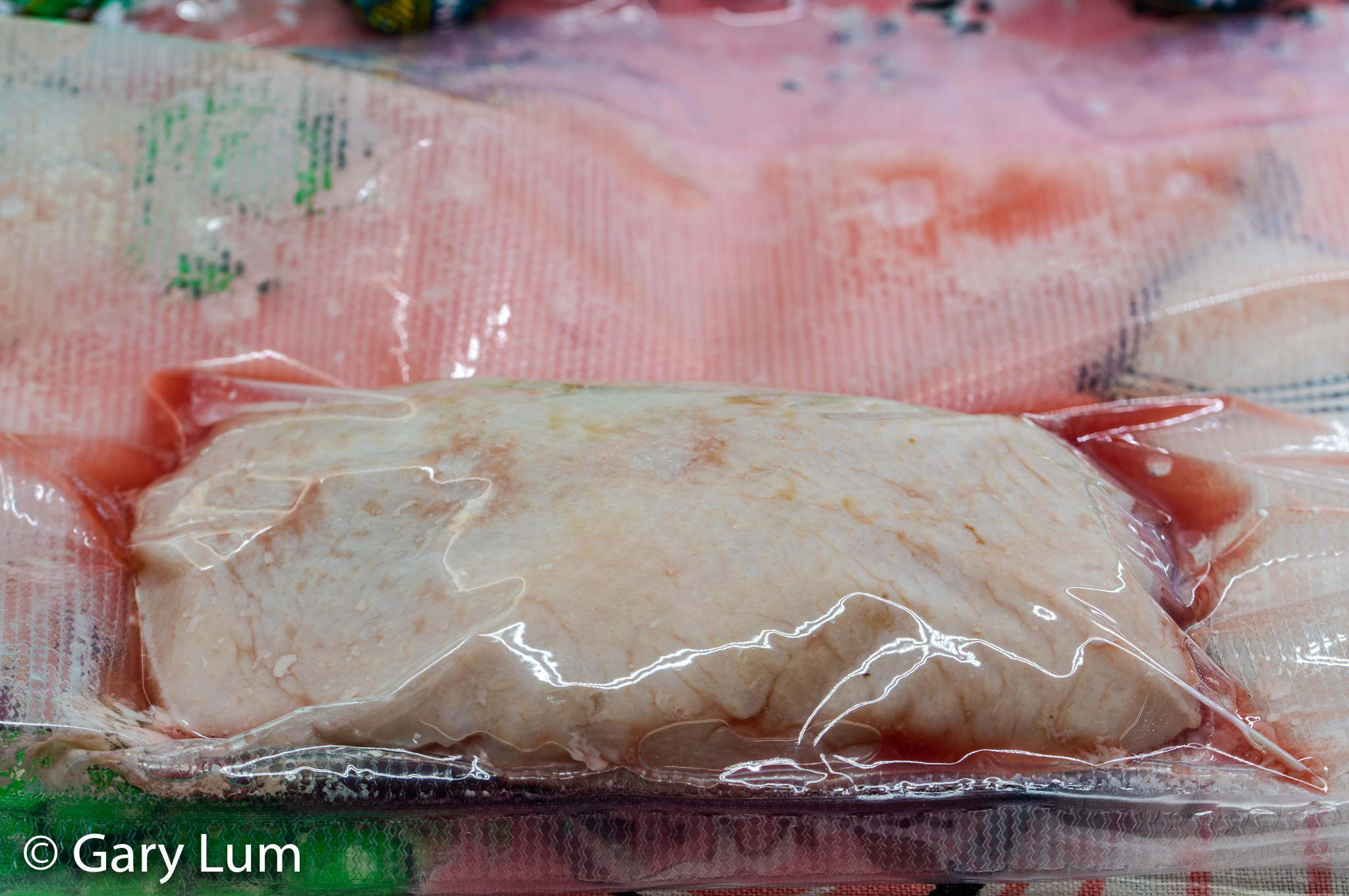 Sous vide duck breast in a vacuum bag. Post-cook.