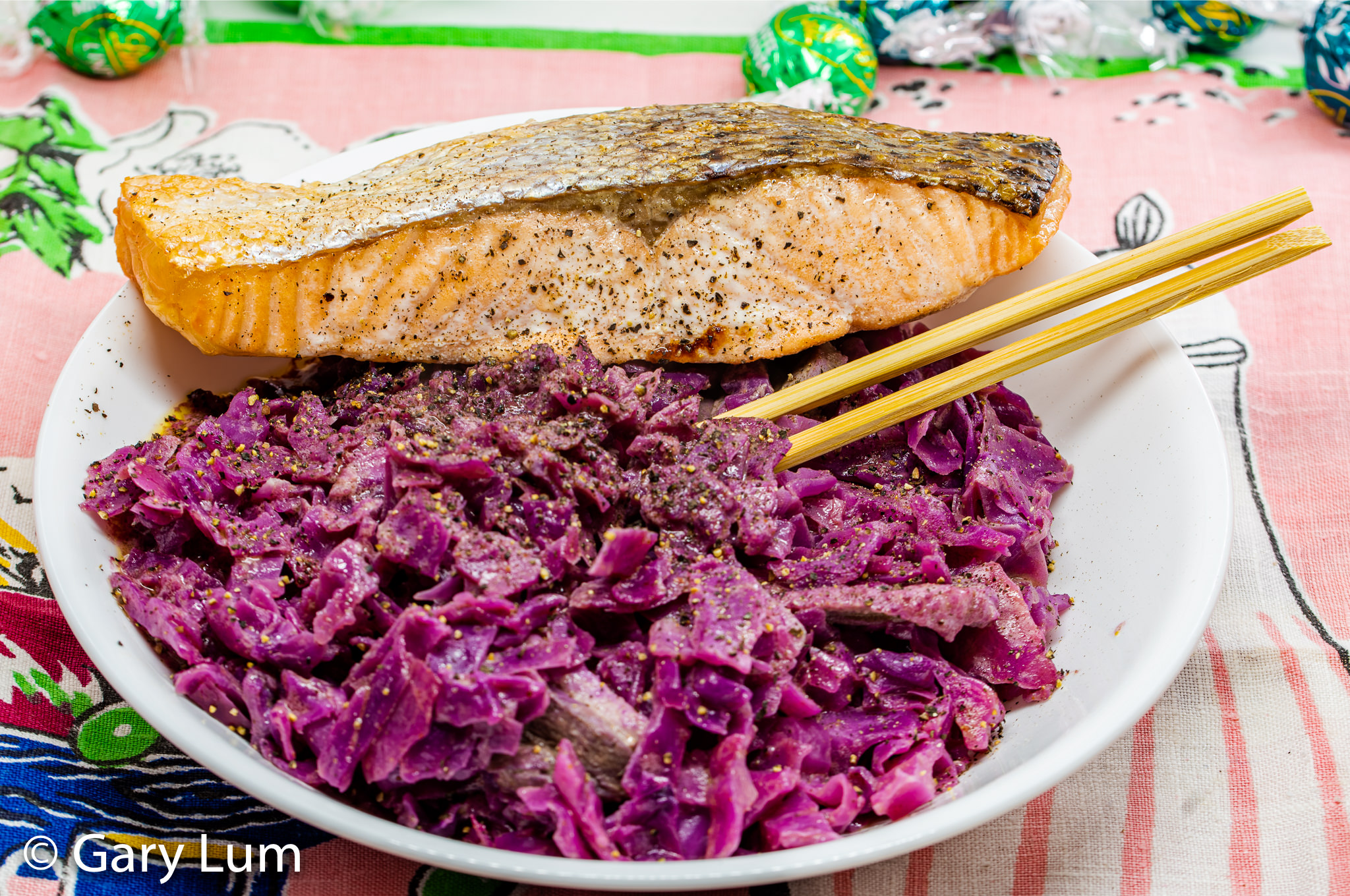 Oven-cooked salmon with leftover sous vide duck and curry red cabbage.
