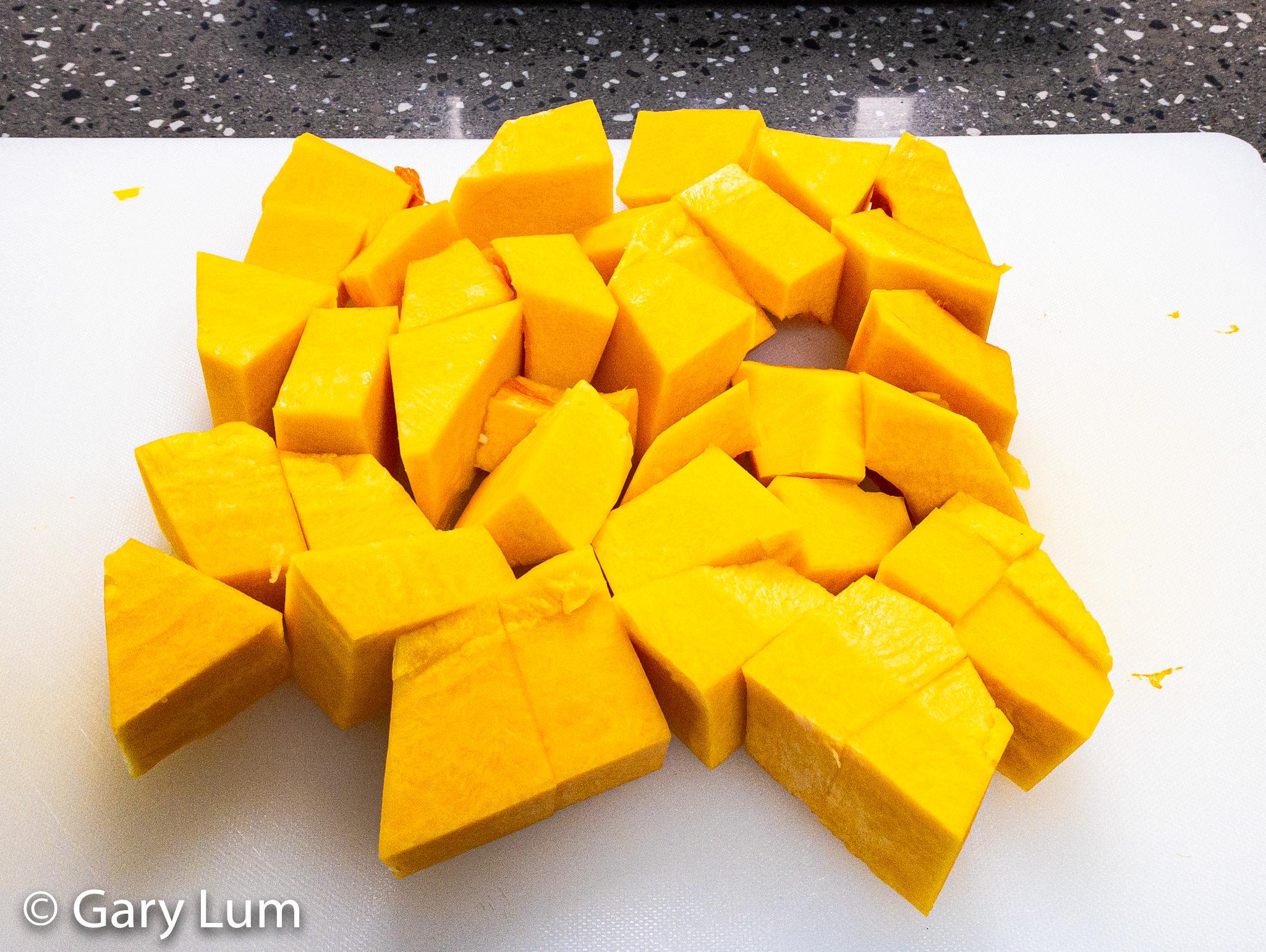 Butternut pumpkin diced