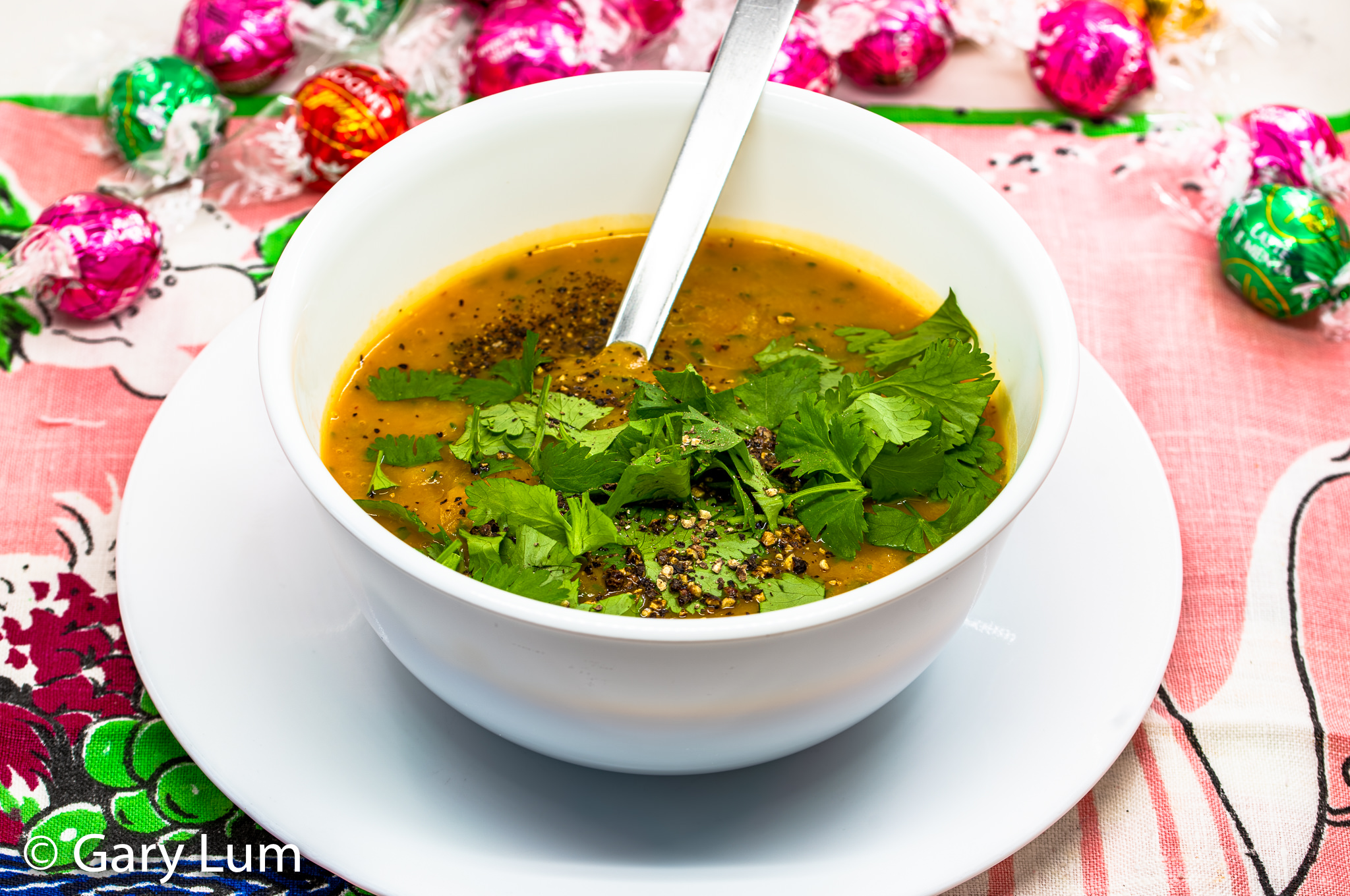 Spicy Thai curry butternut pumpkin soup with coriander. #covidlife #stayhome #workfromhome