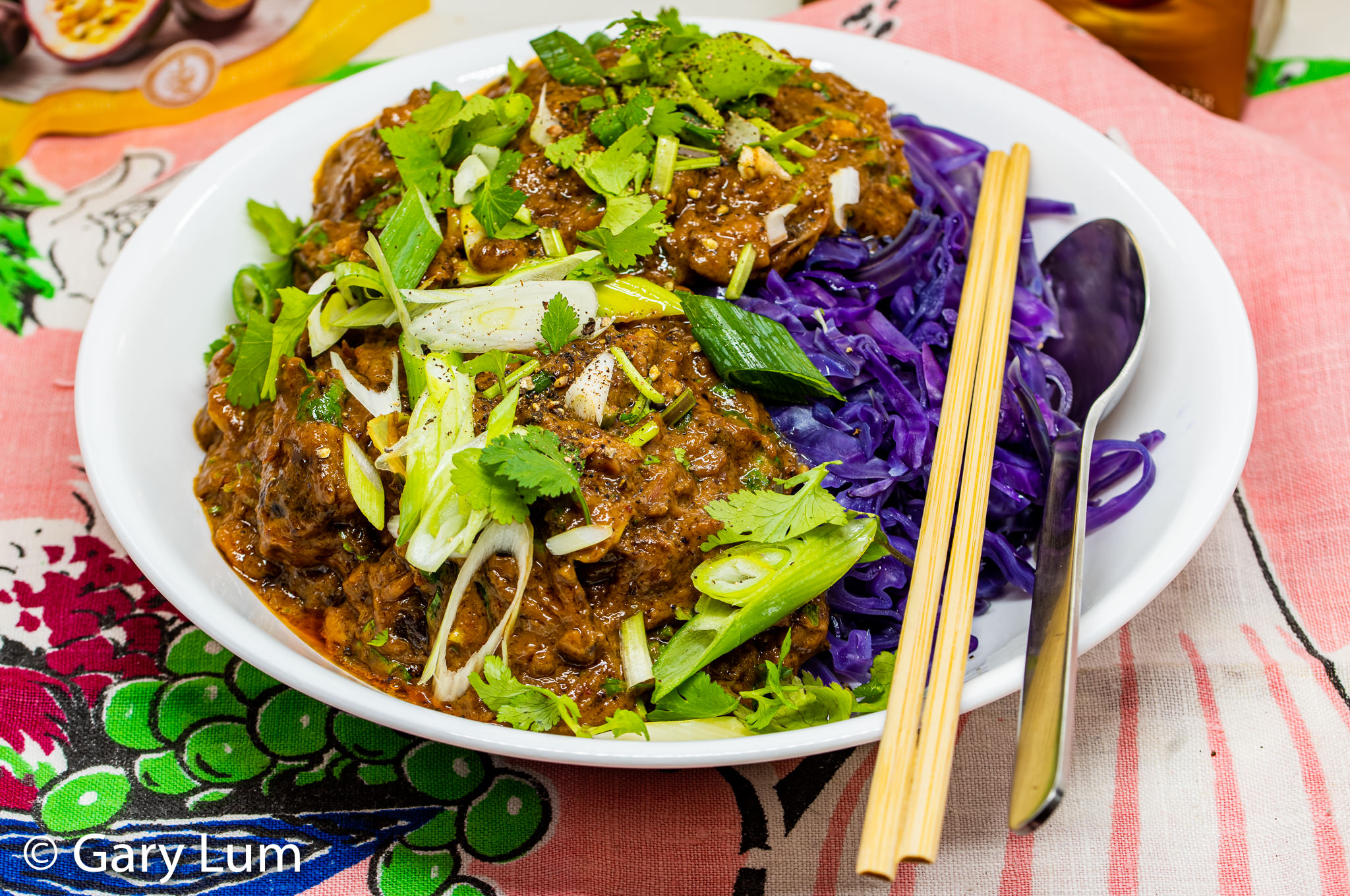 Mayver's crunchy dark roast peanut paste slow beef curry with boiled red cabbage.