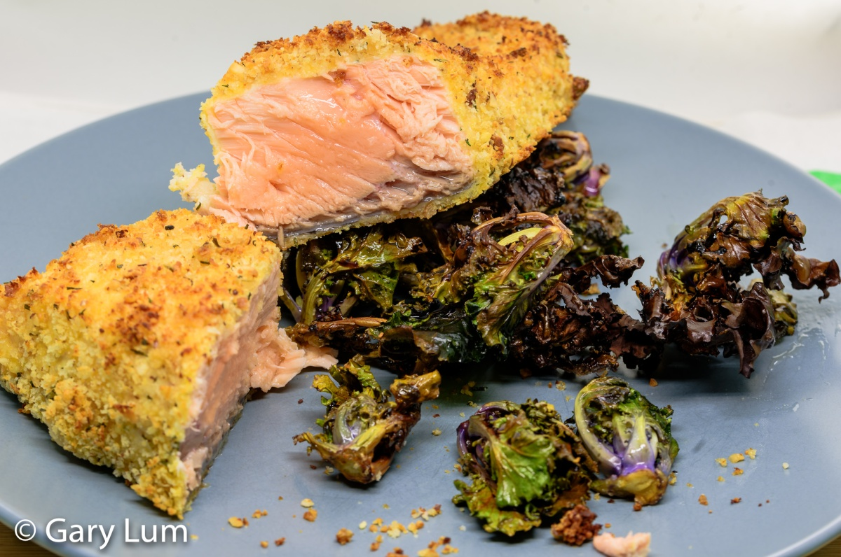 Oven-cooked crumbed salmon with crispy kale sprouts